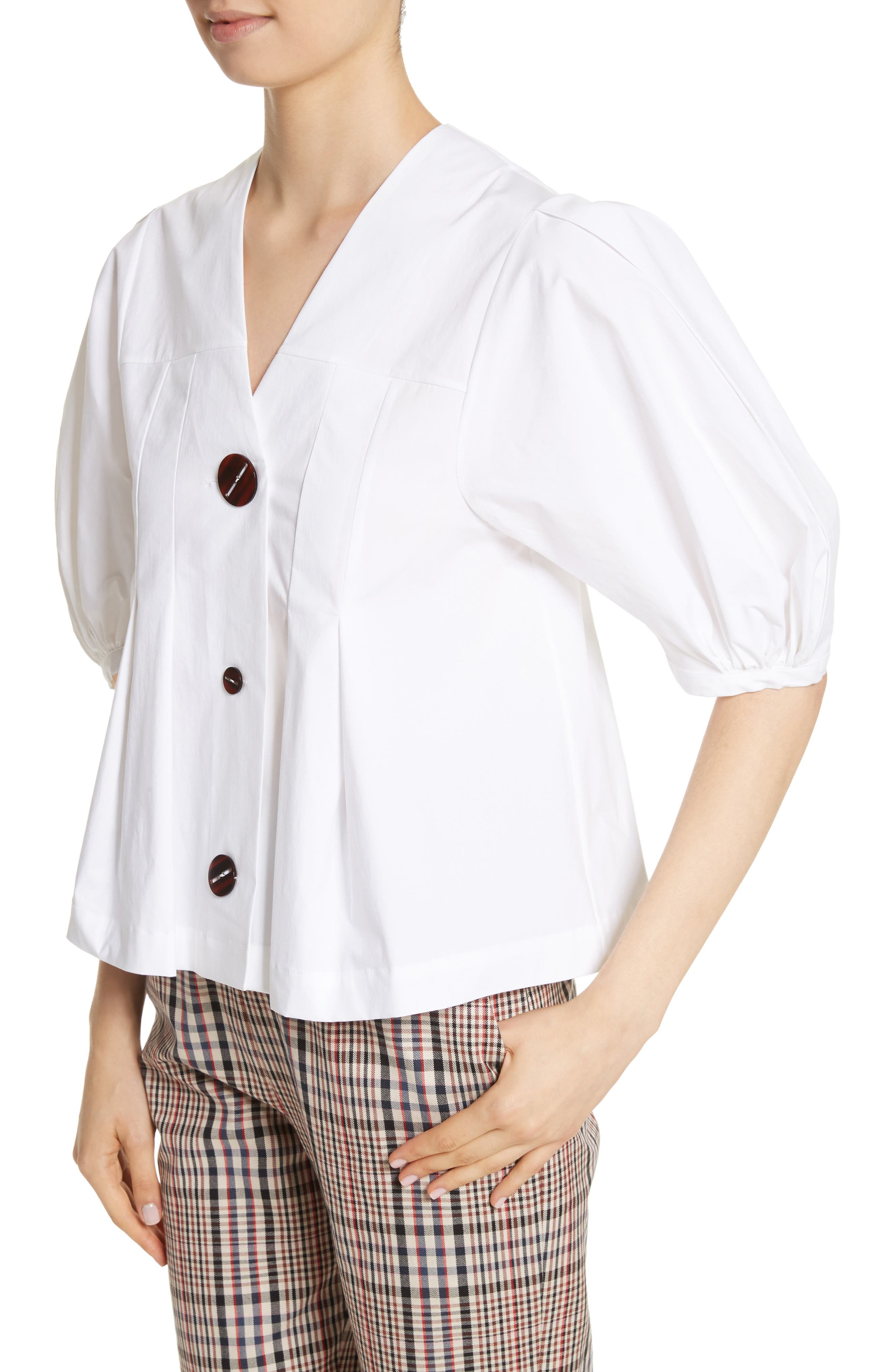 Puff Sleeve Button Front Top,                             Alternate thumbnail 4, color,                             100