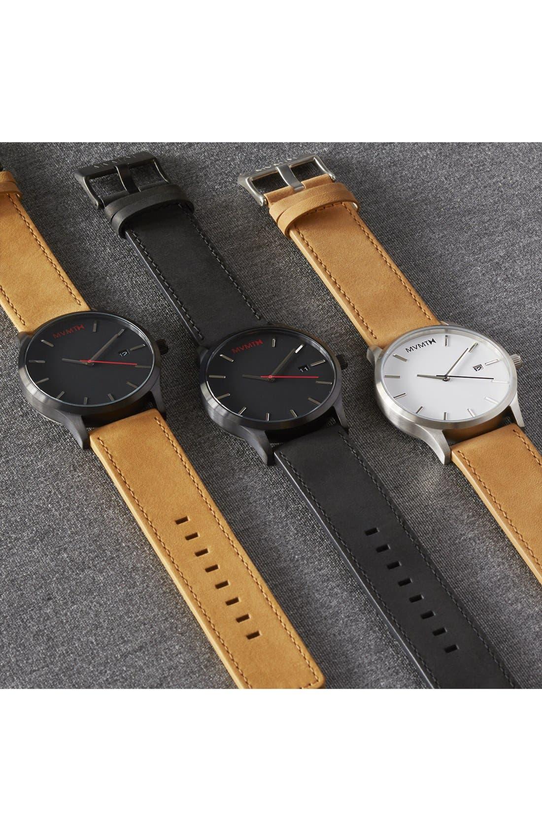 Leather Strap Watch, 45mm,                             Alternate thumbnail 5, color,                             BLACK/ BLACK