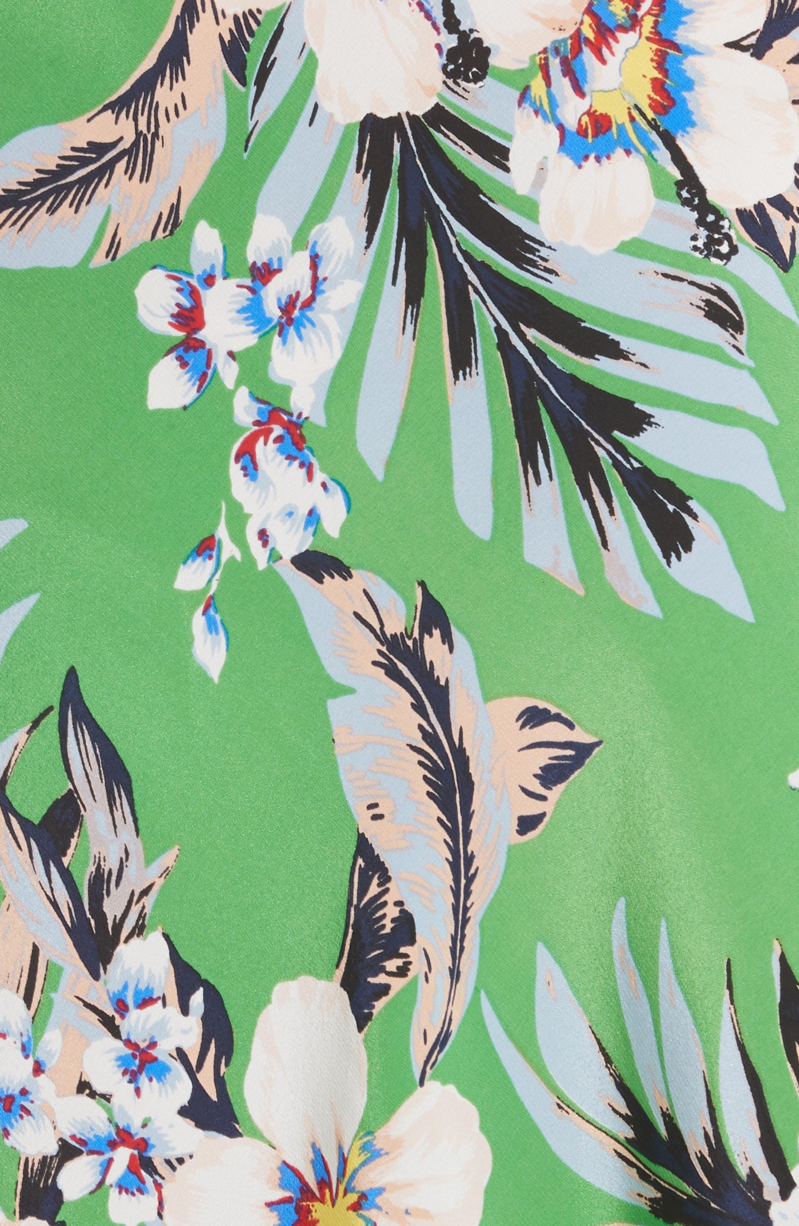 Diane von Furstenberg Flutter Sleeve Silk Wrap Dress,                             Alternate thumbnail 5, color,                             BOLAN PALM MULTI