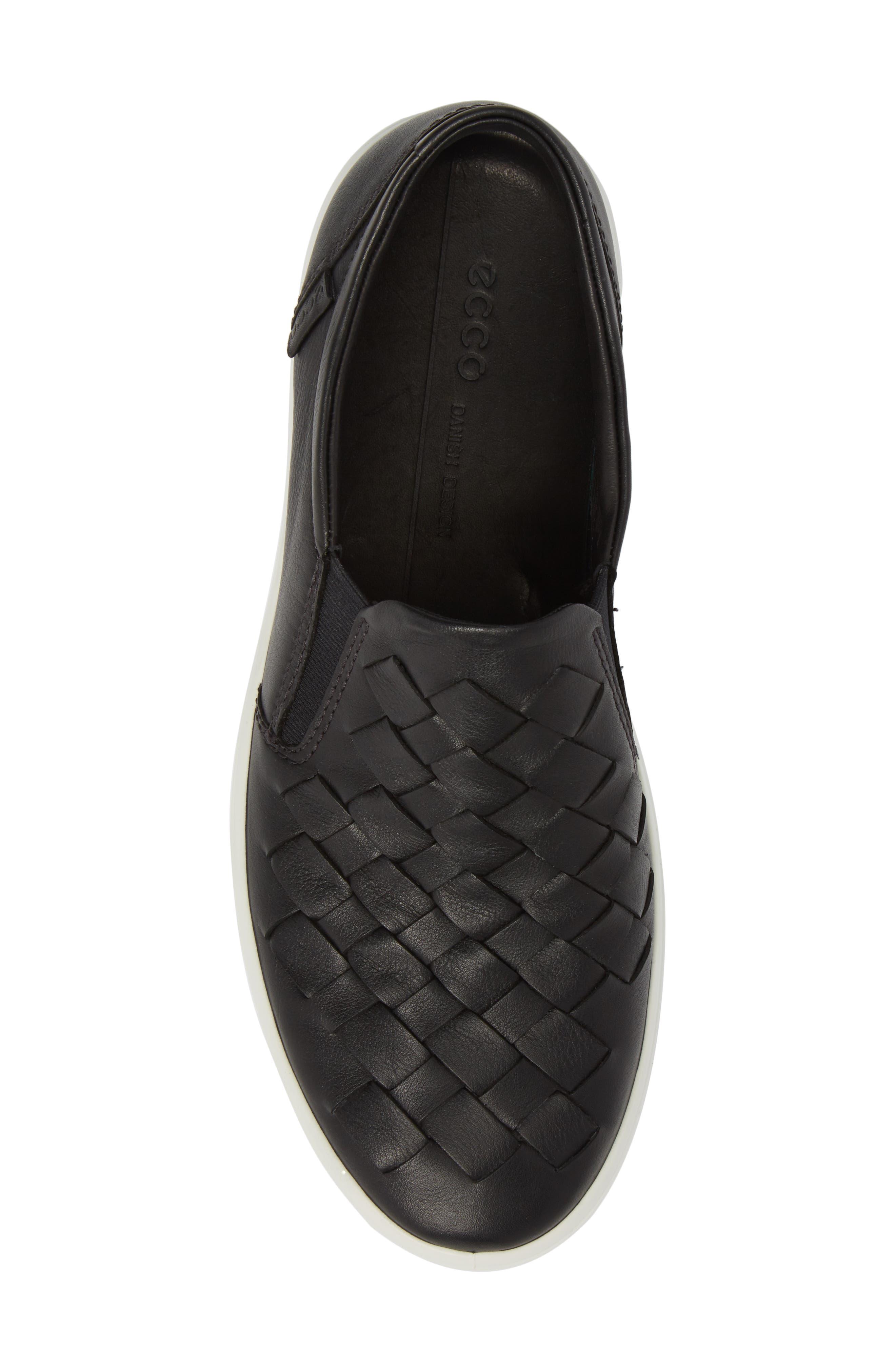 Soft 7 Woven Slip-On Sneaker,                             Alternate thumbnail 5, color,                             BLACK LEATHER