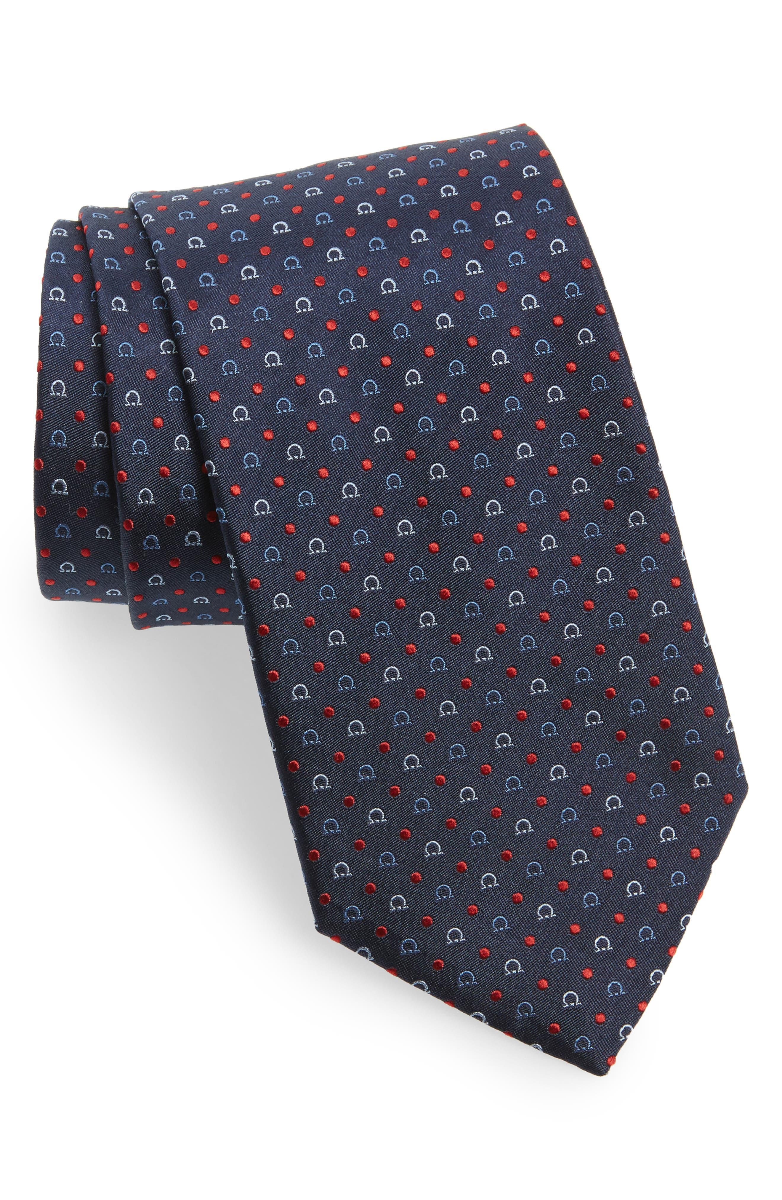 Gancini Silk Tie,                         Main,                         color, 491