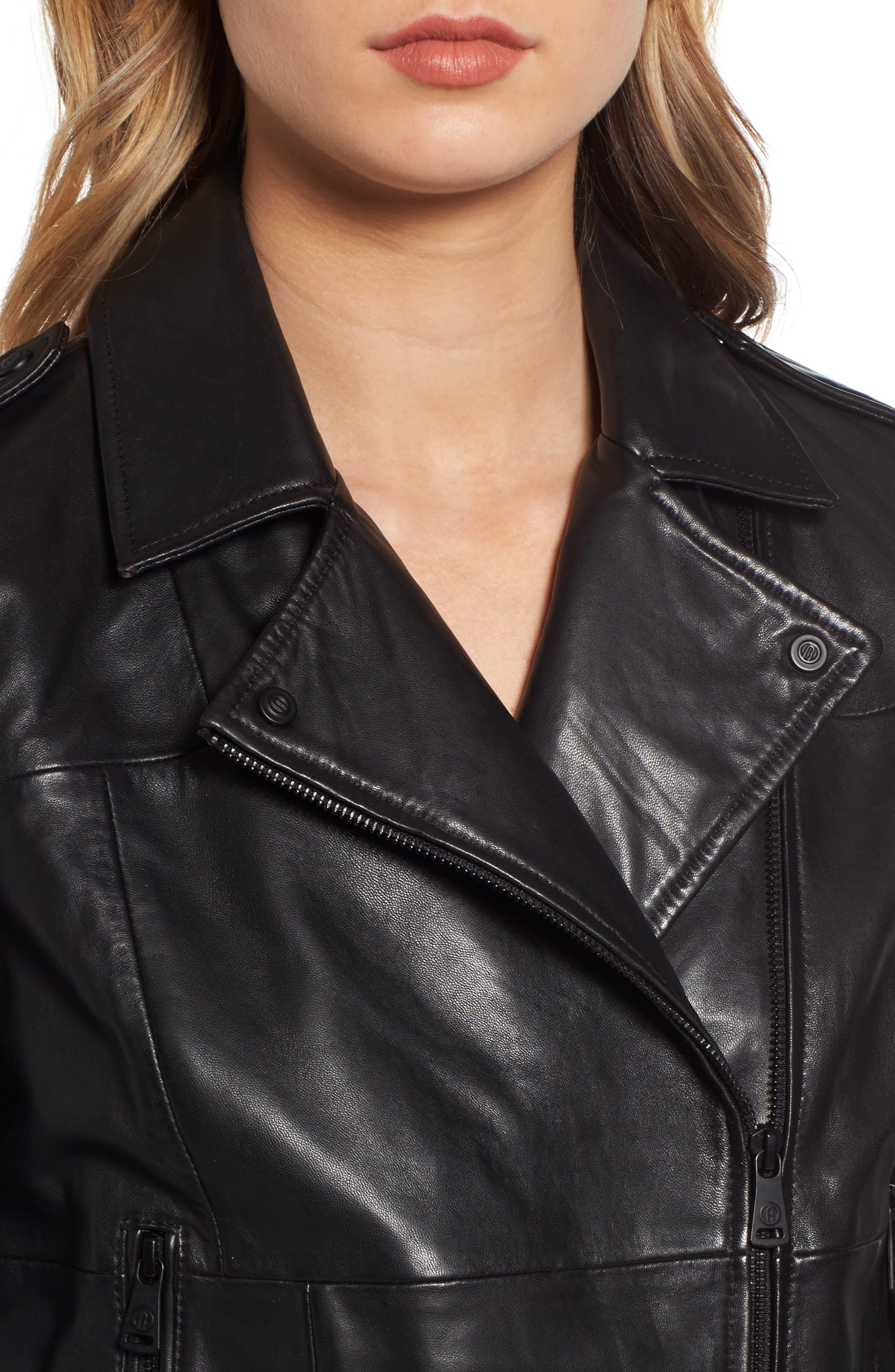 Belted Leather Moto Jacket,                             Alternate thumbnail 4, color,