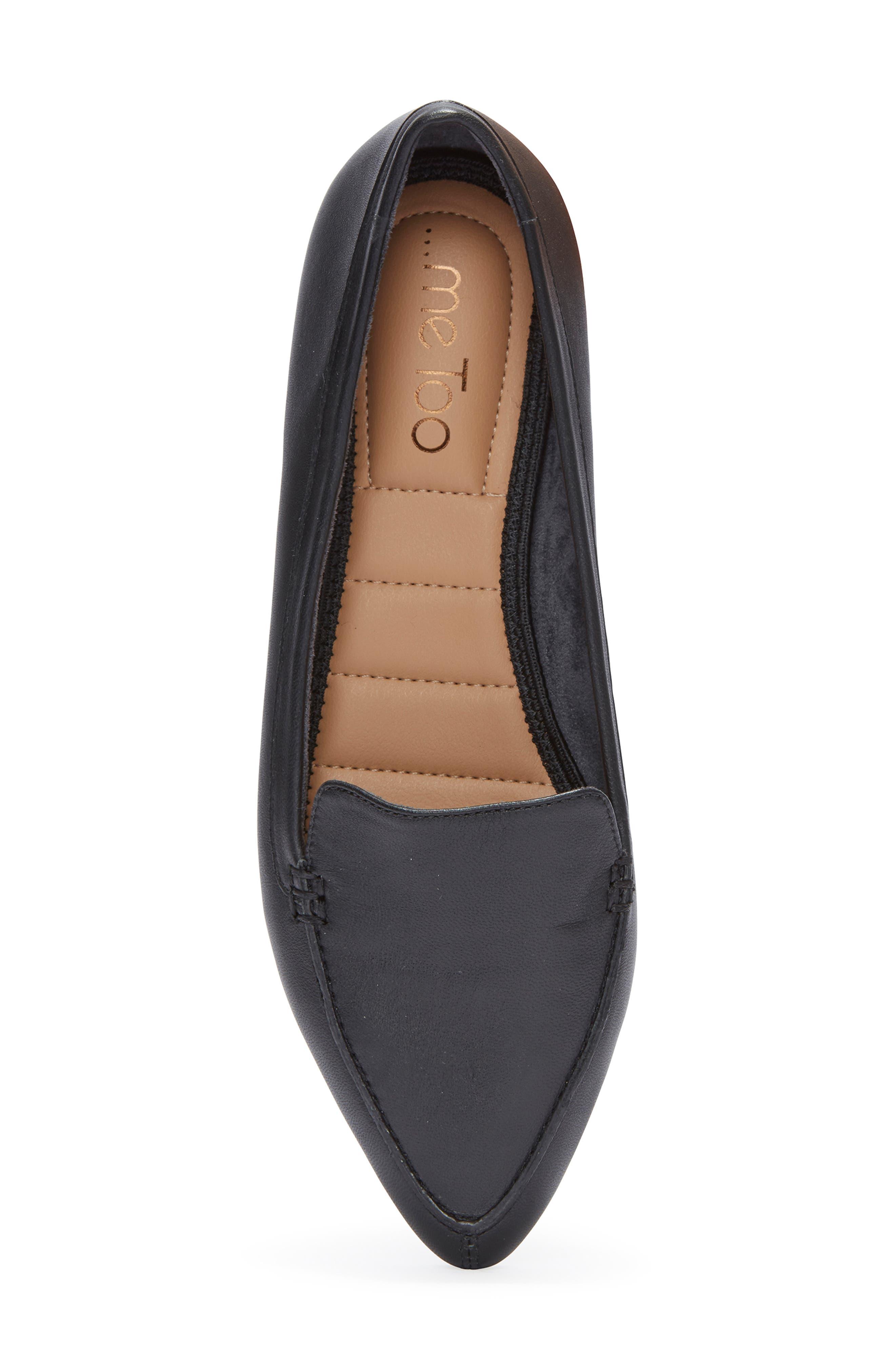 Audra Loafer Flat,                             Alternate thumbnail 5, color,                             BLACK/ BLACK LEATHER