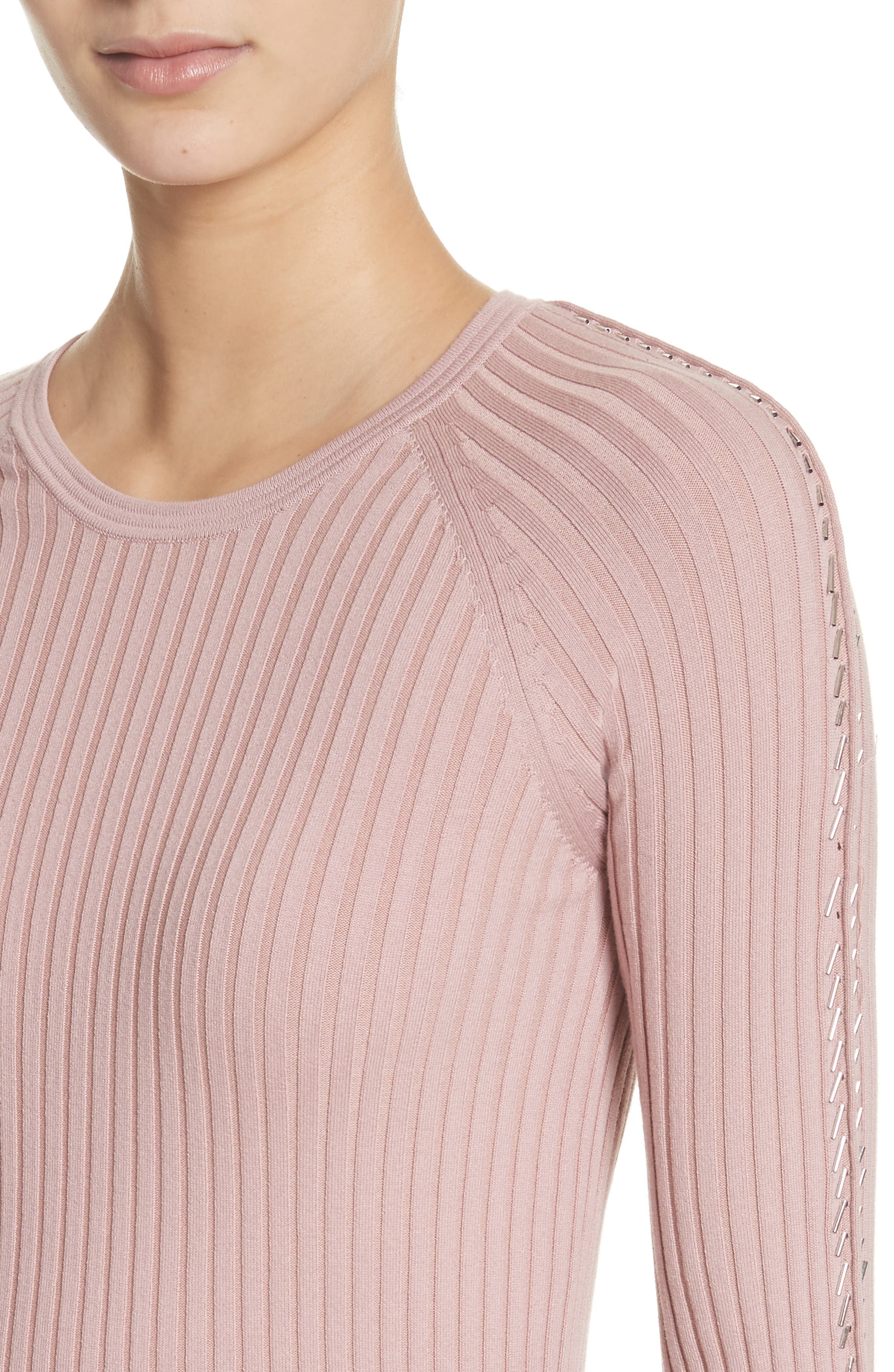 Pin Pierce Ribbed Sweater,                             Alternate thumbnail 4, color,                             654