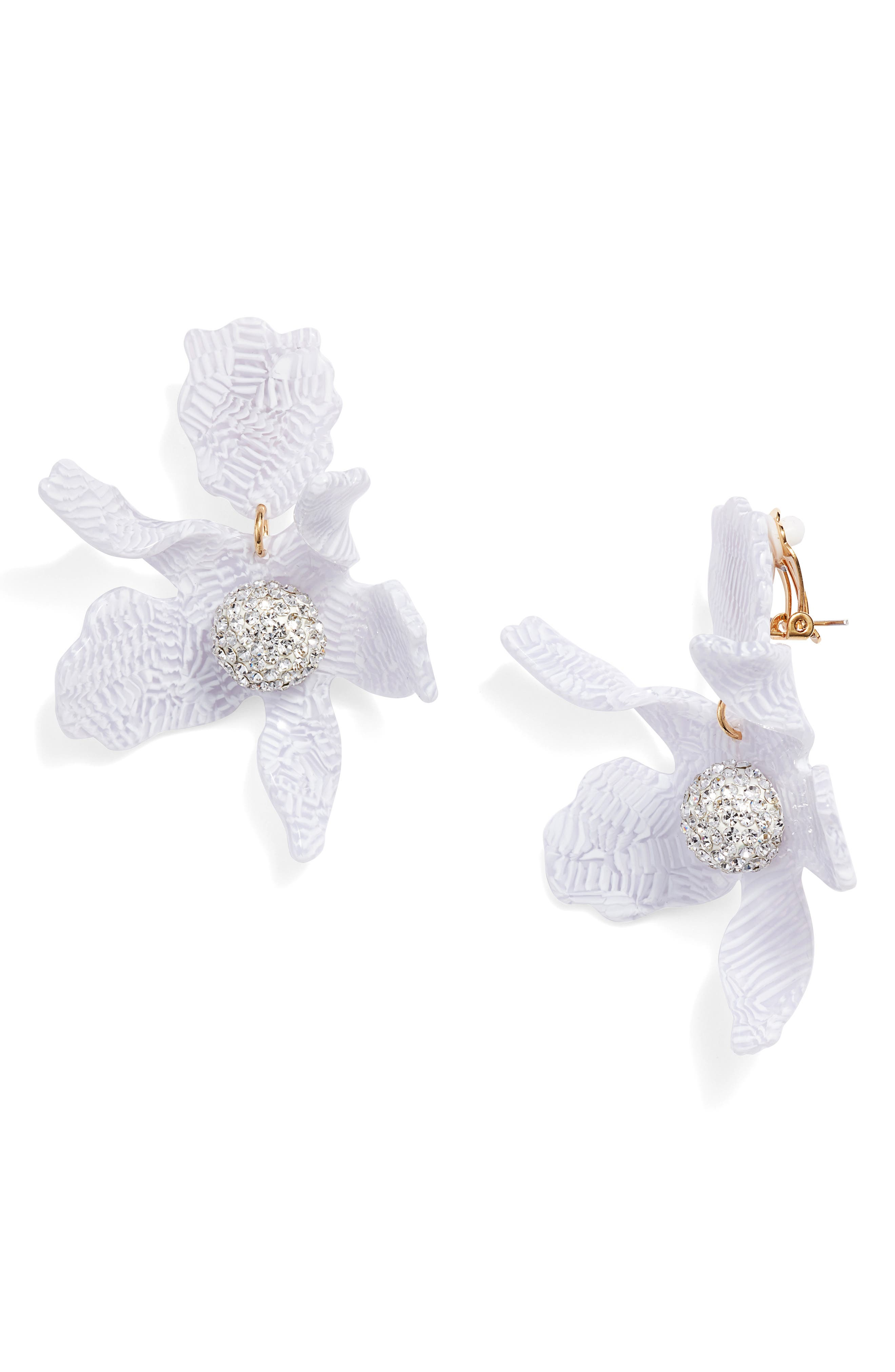 Crystal Lily Clip Earrings,                         Main,                         color, 100