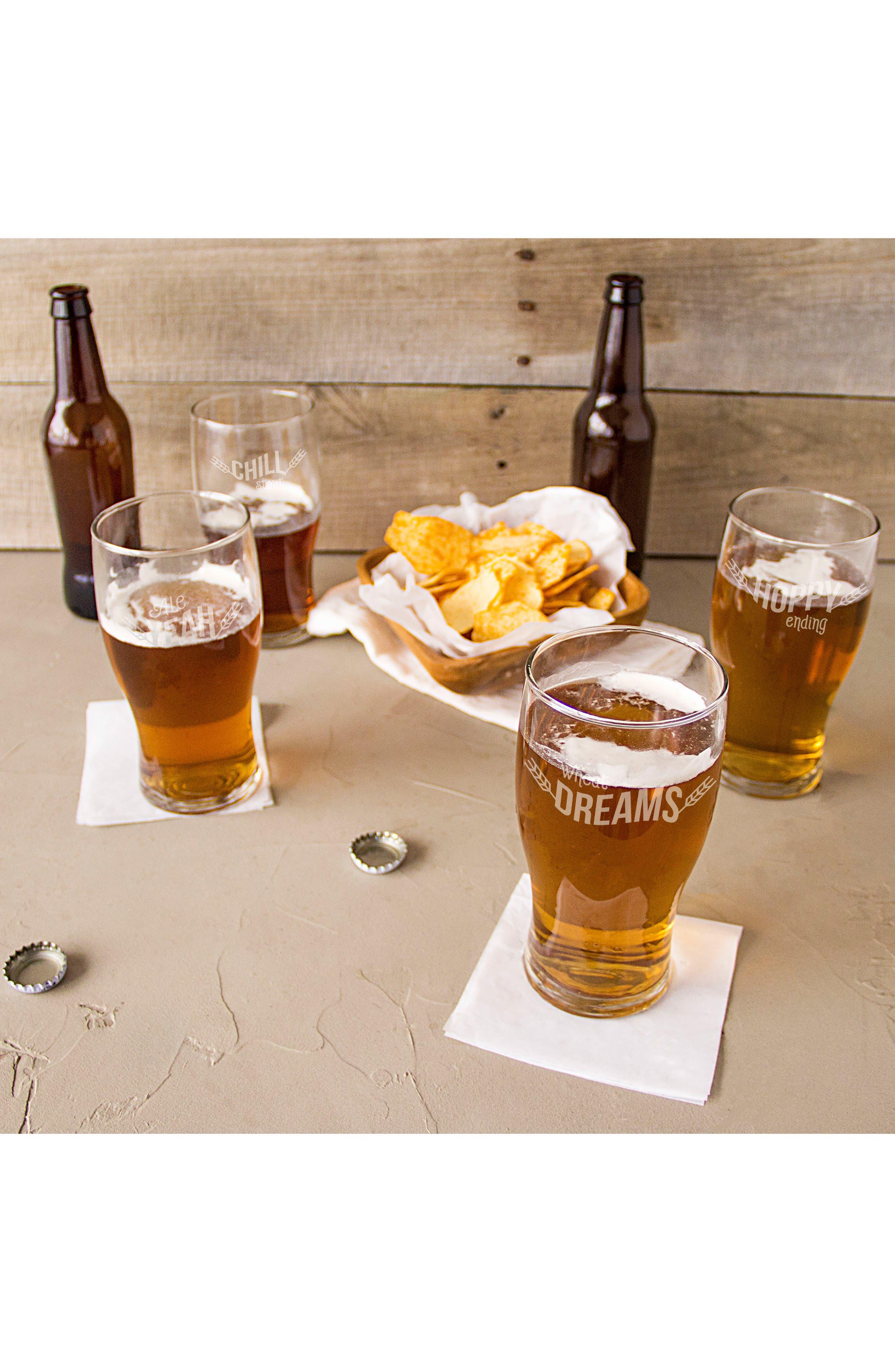 Beer Pun Set of 4 Pilsner Glasses,                             Alternate thumbnail 6, color,                             100