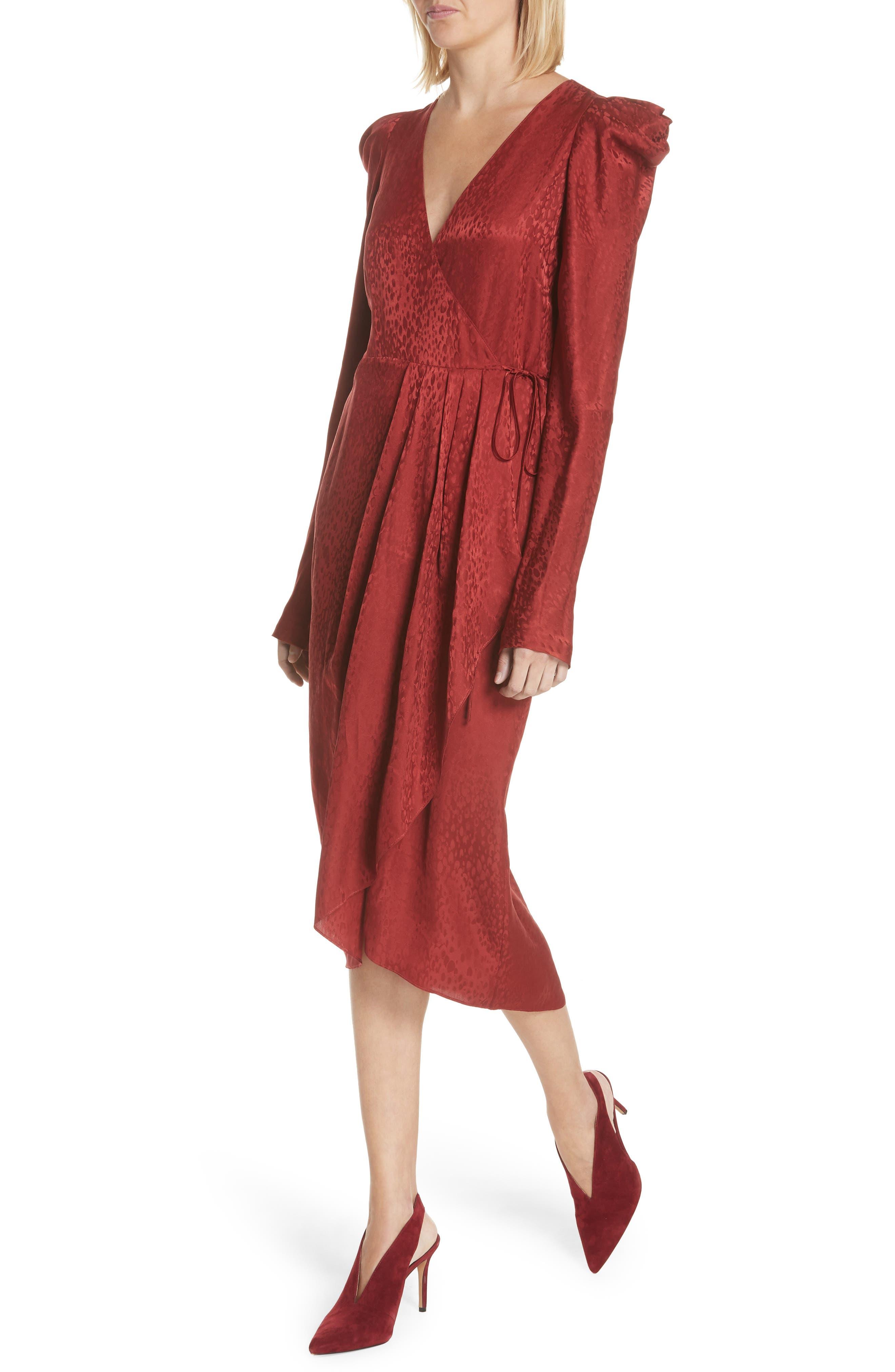 Carolina Puff Shoulder Silk Jacquard Dress,                             Alternate thumbnail 4, color,                             CRIMSON