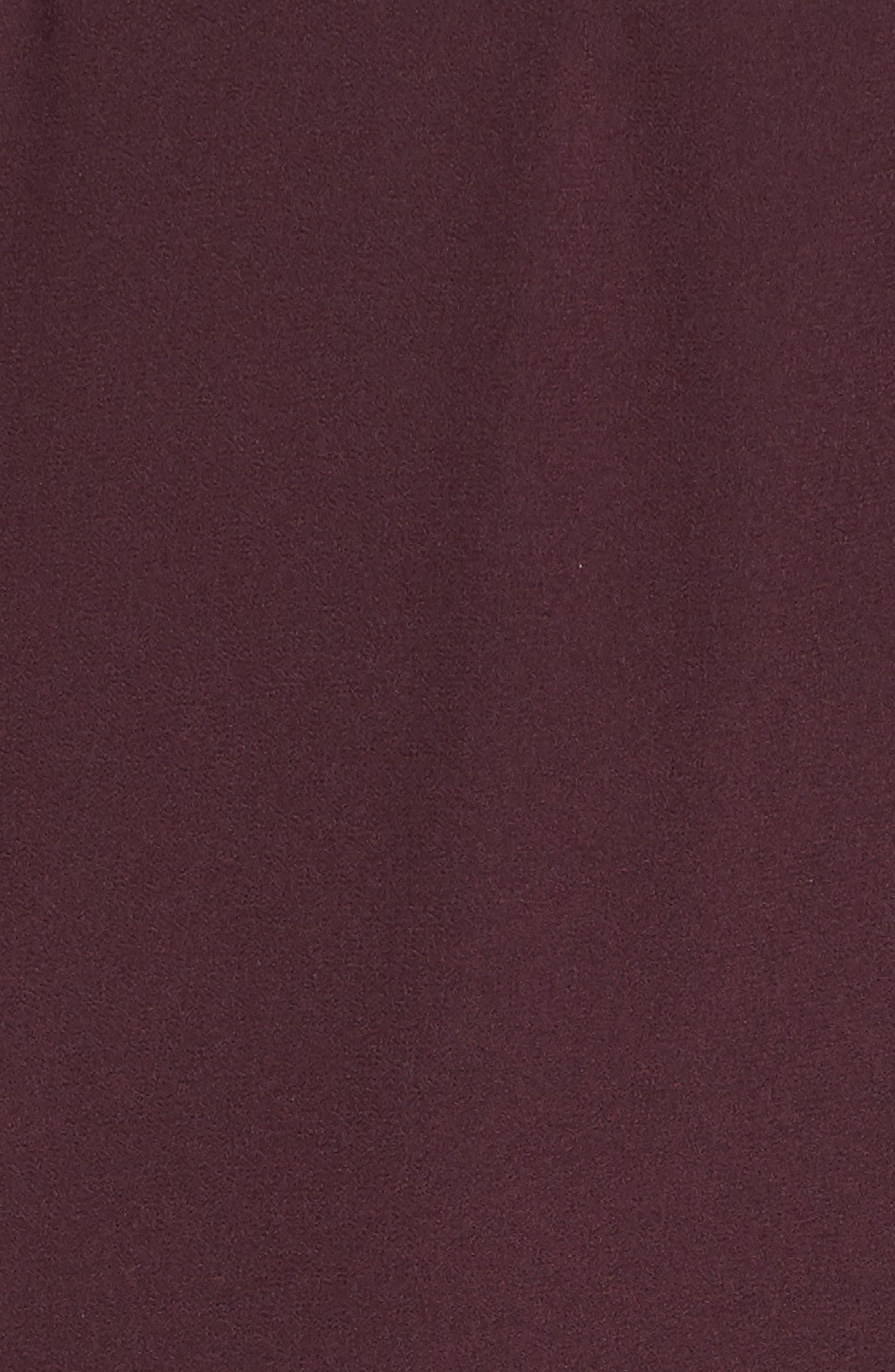 Pleat Detail Midi Dress,                             Alternate thumbnail 5, color,                             BURGUNDY STEM