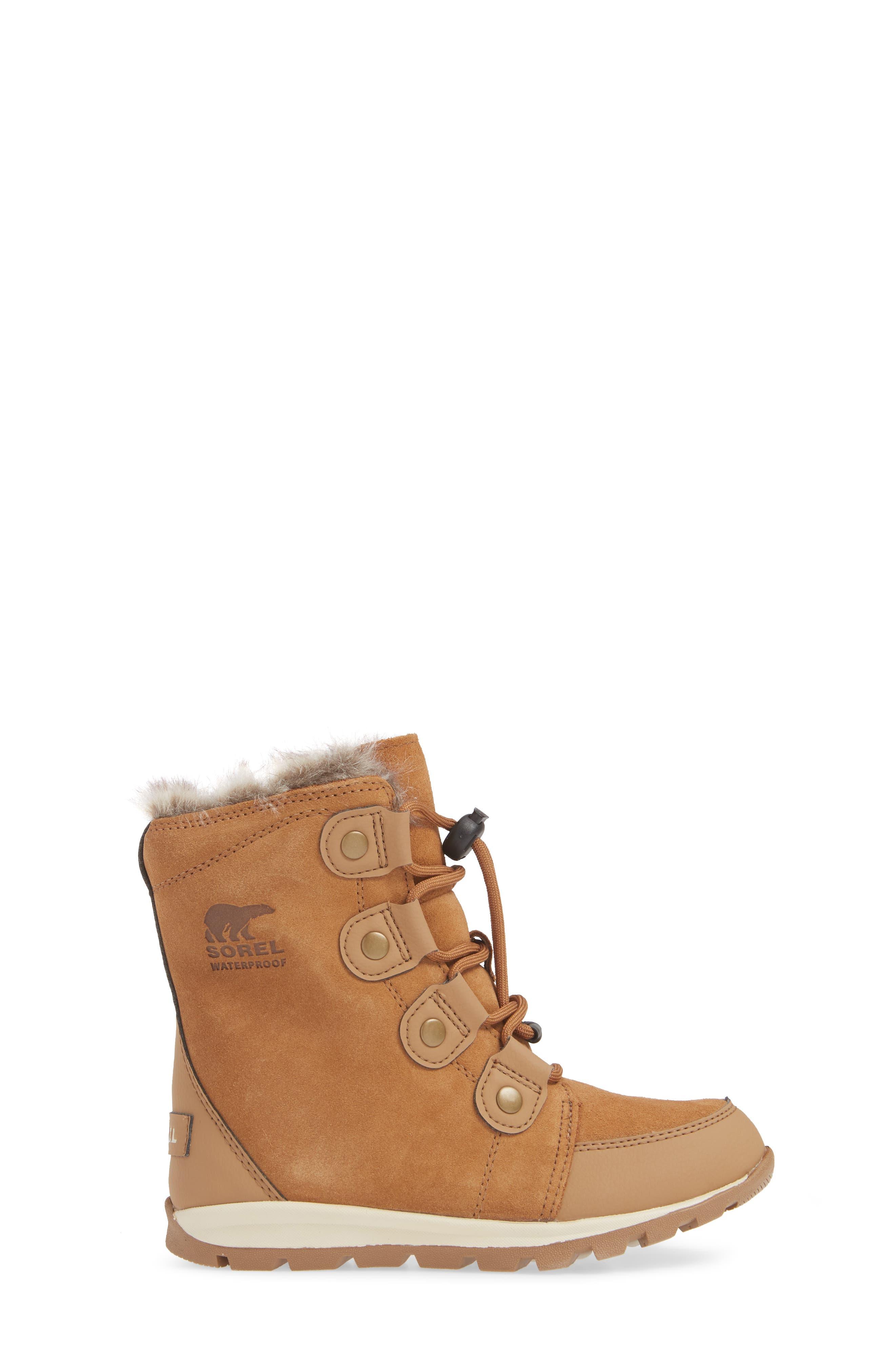 Whitney Suede Waterproof Faux Fur Boot,                             Alternate thumbnail 3, color,                             ELK/ NATURAL