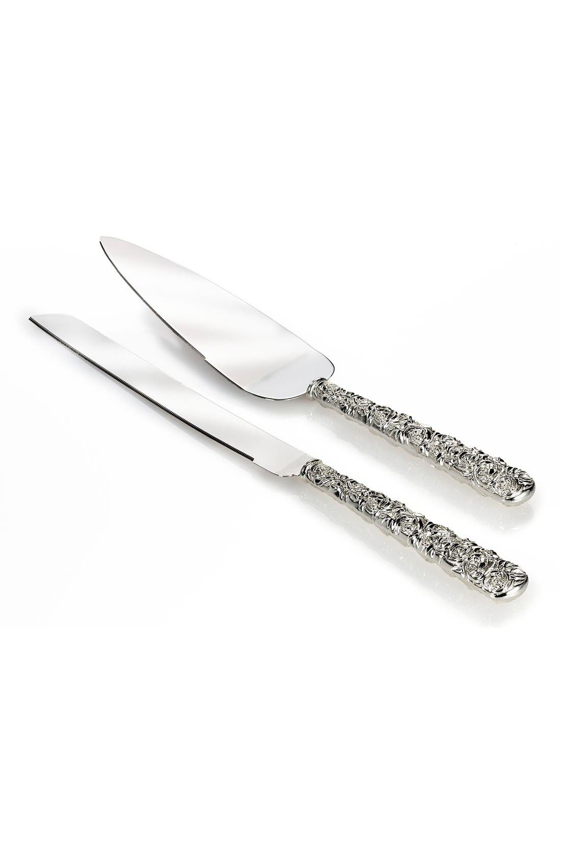 Monique Lhuillier Waterford 'Sunday Rose' Silverplate 2-Piece Cake Serving Set,                             Main thumbnail 1, color,