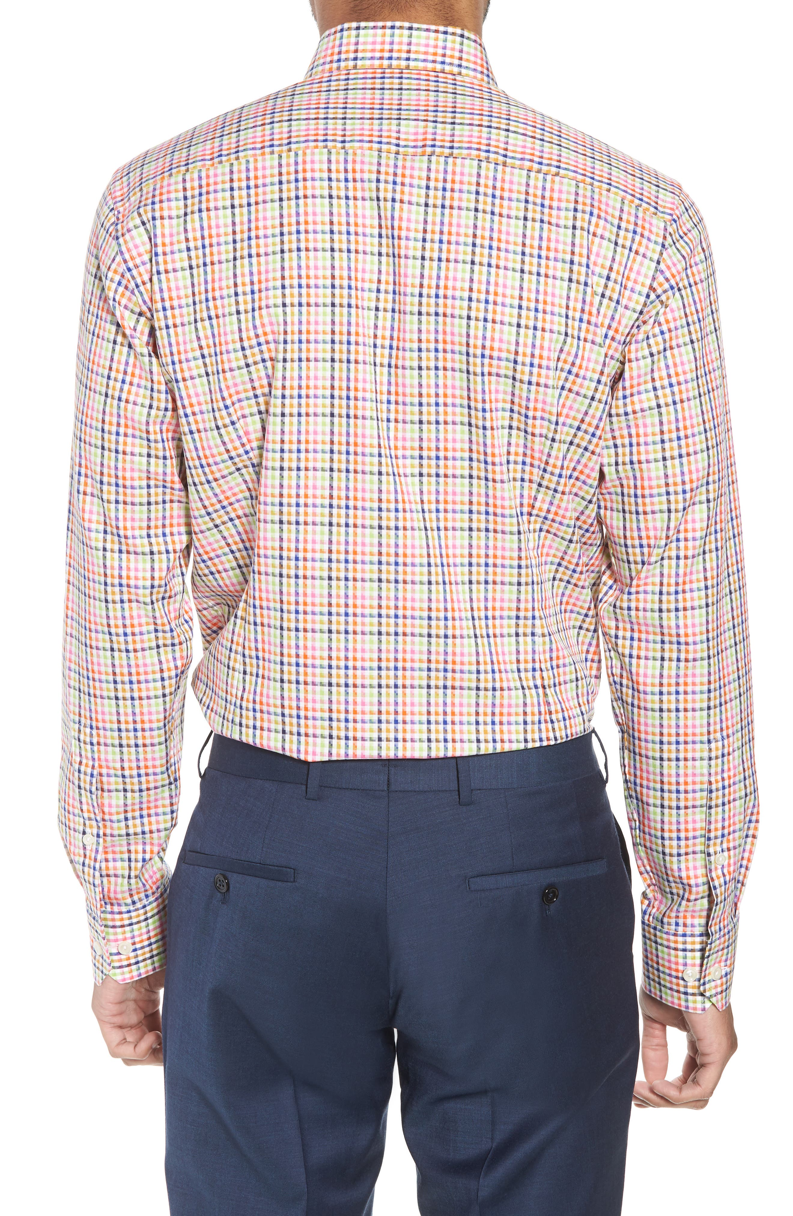 Slim Fit Check Dress Shirt,                             Alternate thumbnail 3, color,