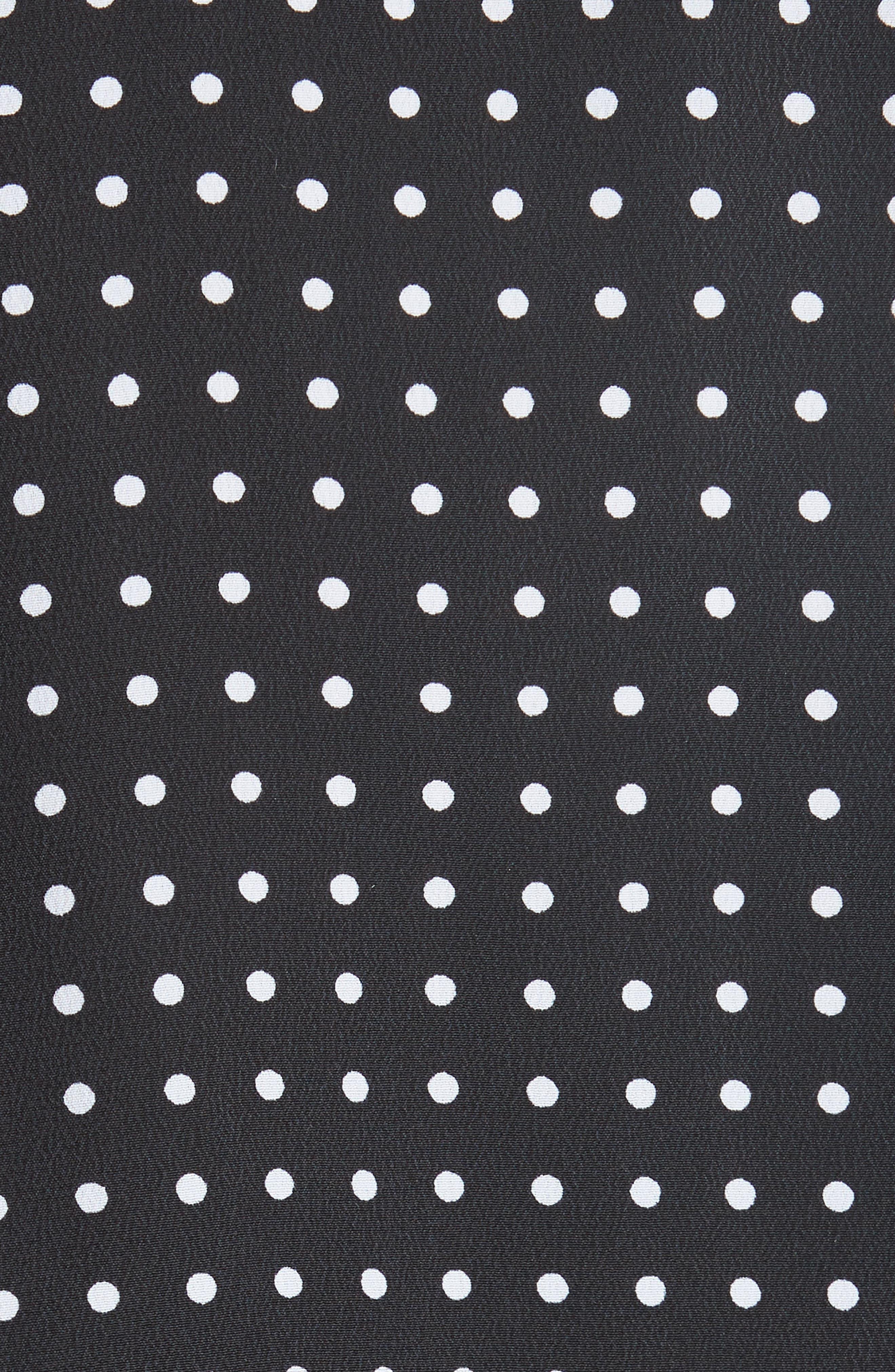 Polka Dot Plunge Silk Blouse,                             Alternate thumbnail 5, color,                             TRUE BLACK/ BRIGHT WHITE