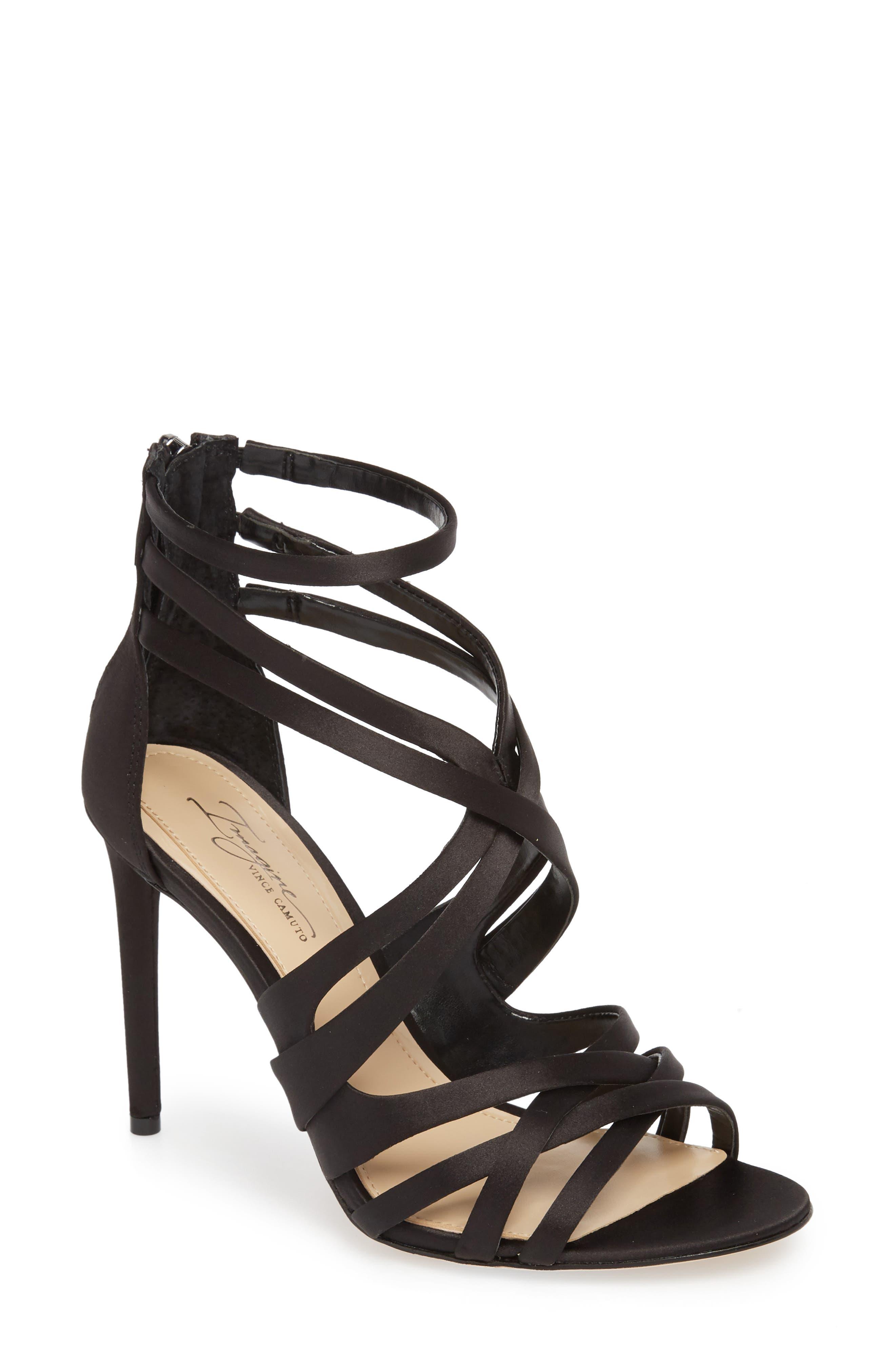 Ress Sandal,                         Main,                         color, BLACK SATIN