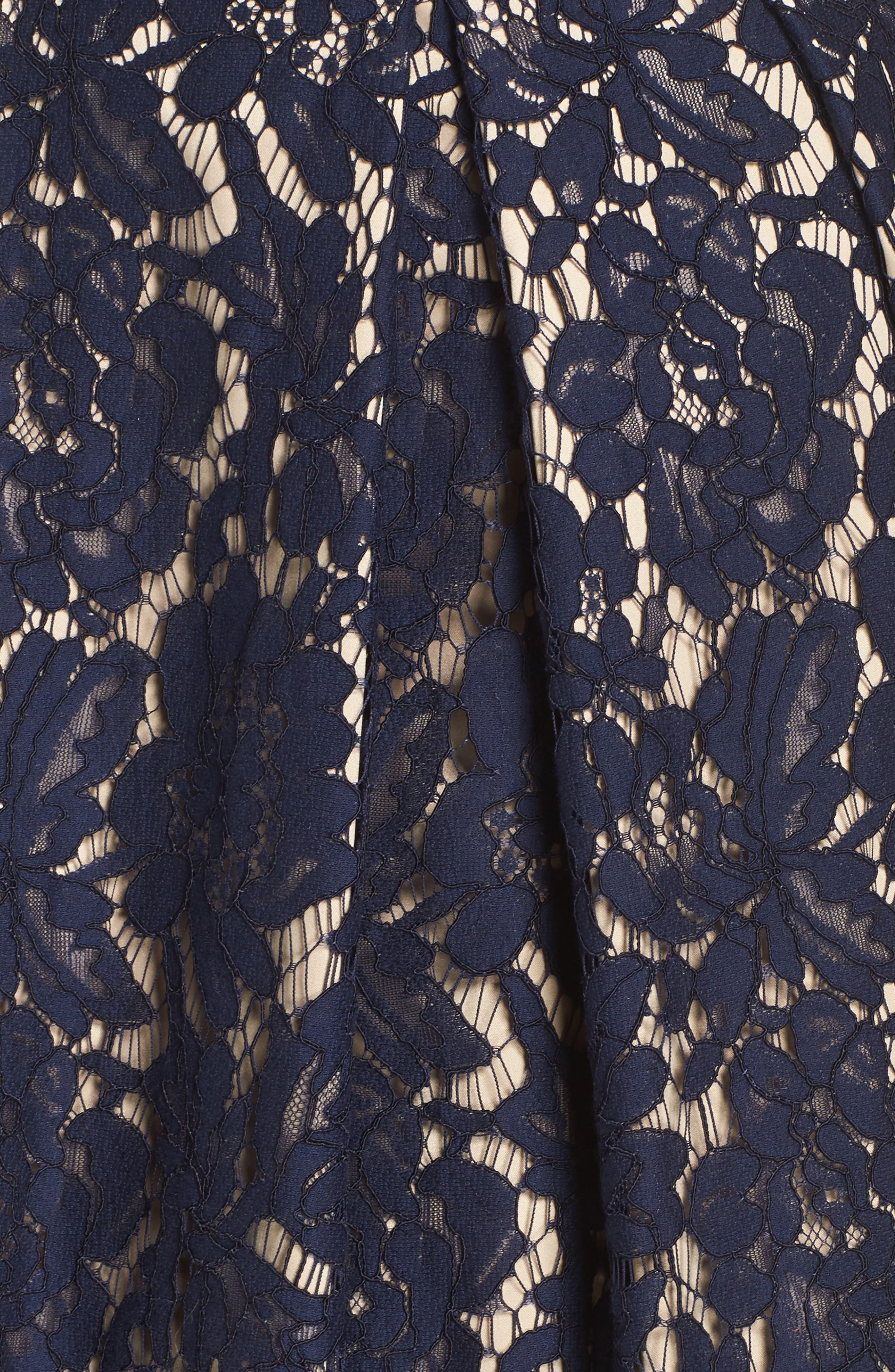 Embellished Lace Fit & Flare Dress,                             Alternate thumbnail 5, color,                             NAVY