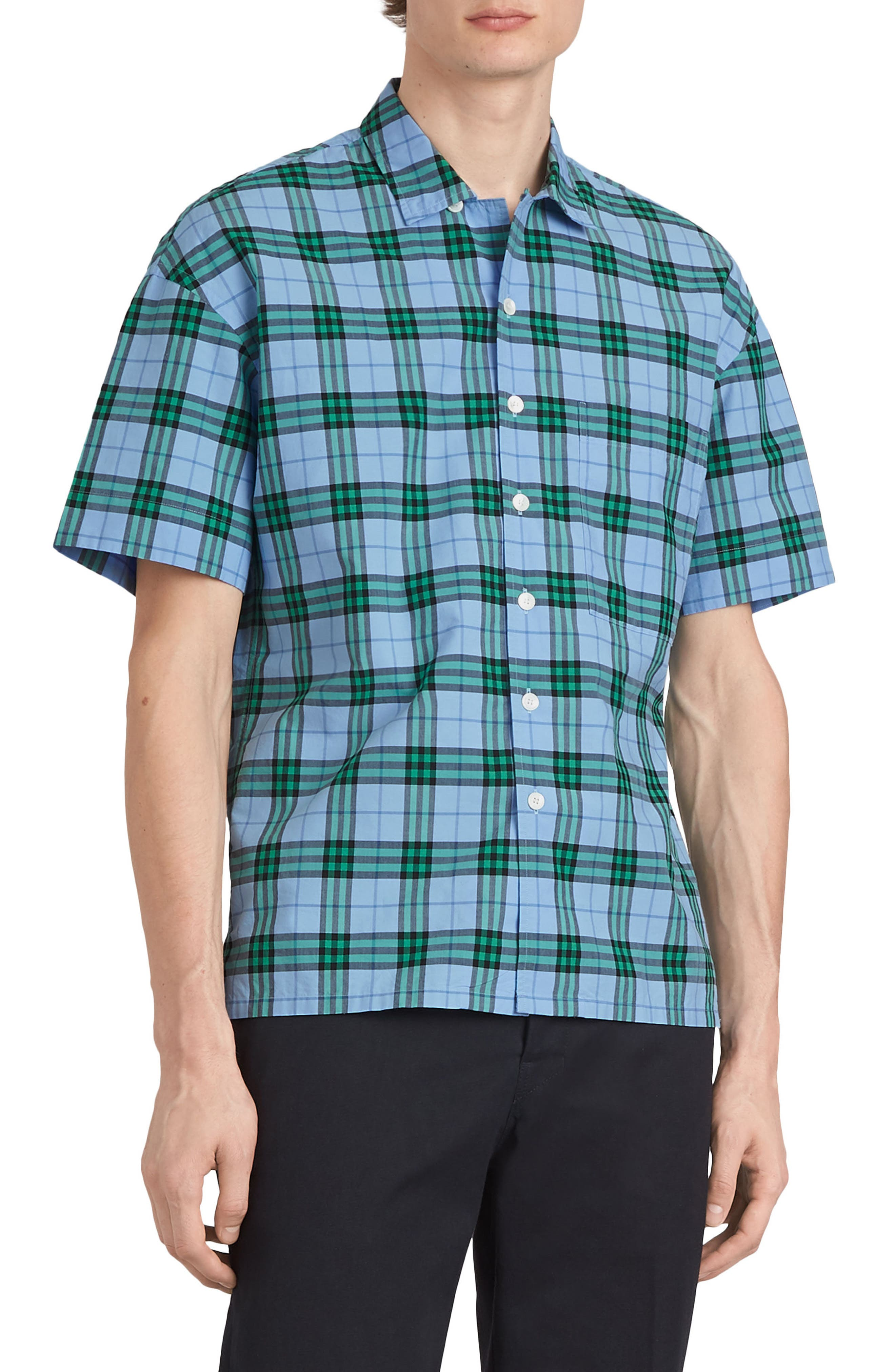 Harely Check Camp Shirt,                             Main thumbnail 1, color,                             BLUE TOPAZ