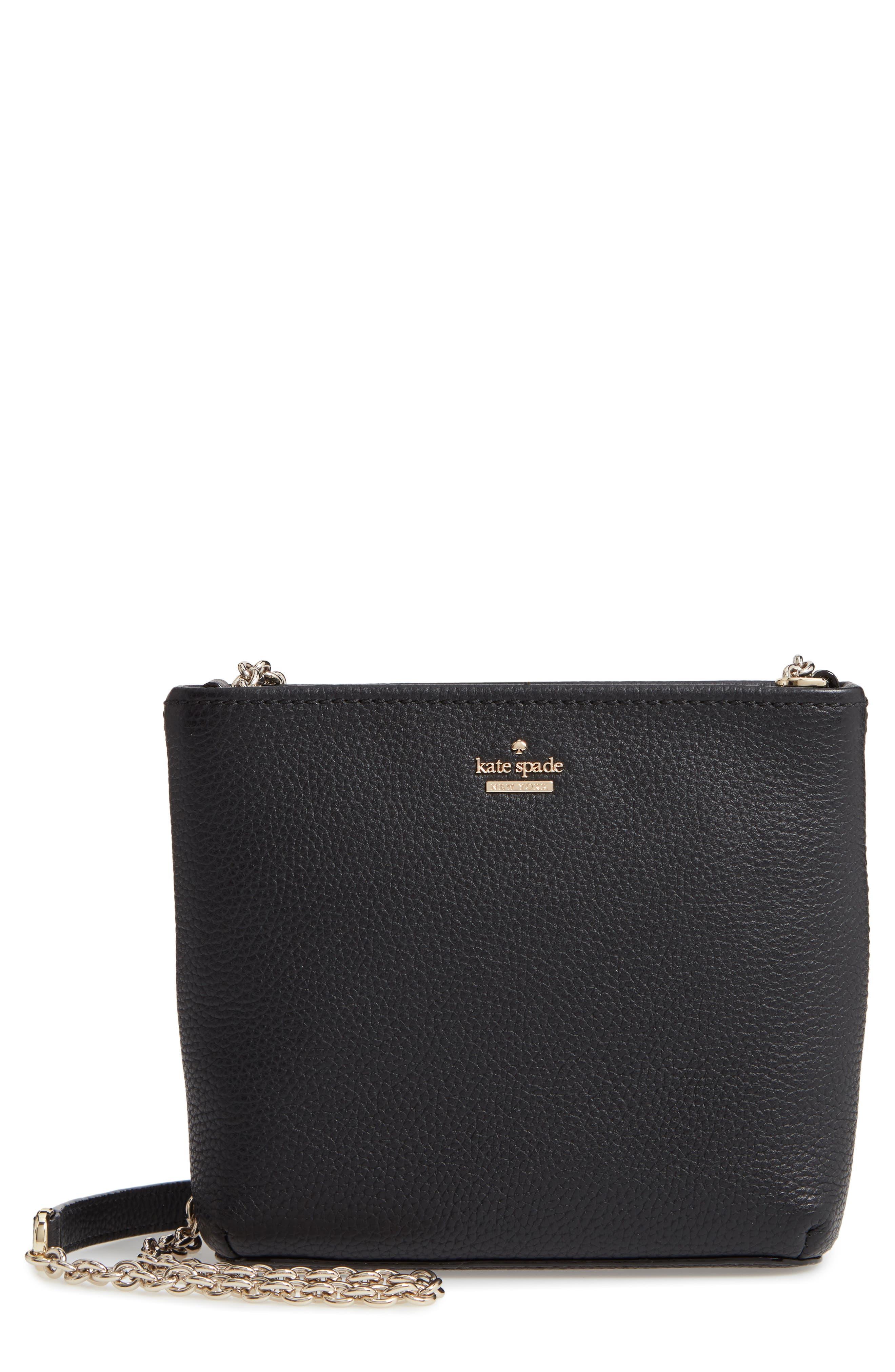 jackson street - ellery leather crossbody bag,                             Main thumbnail 1, color,                             BLACK