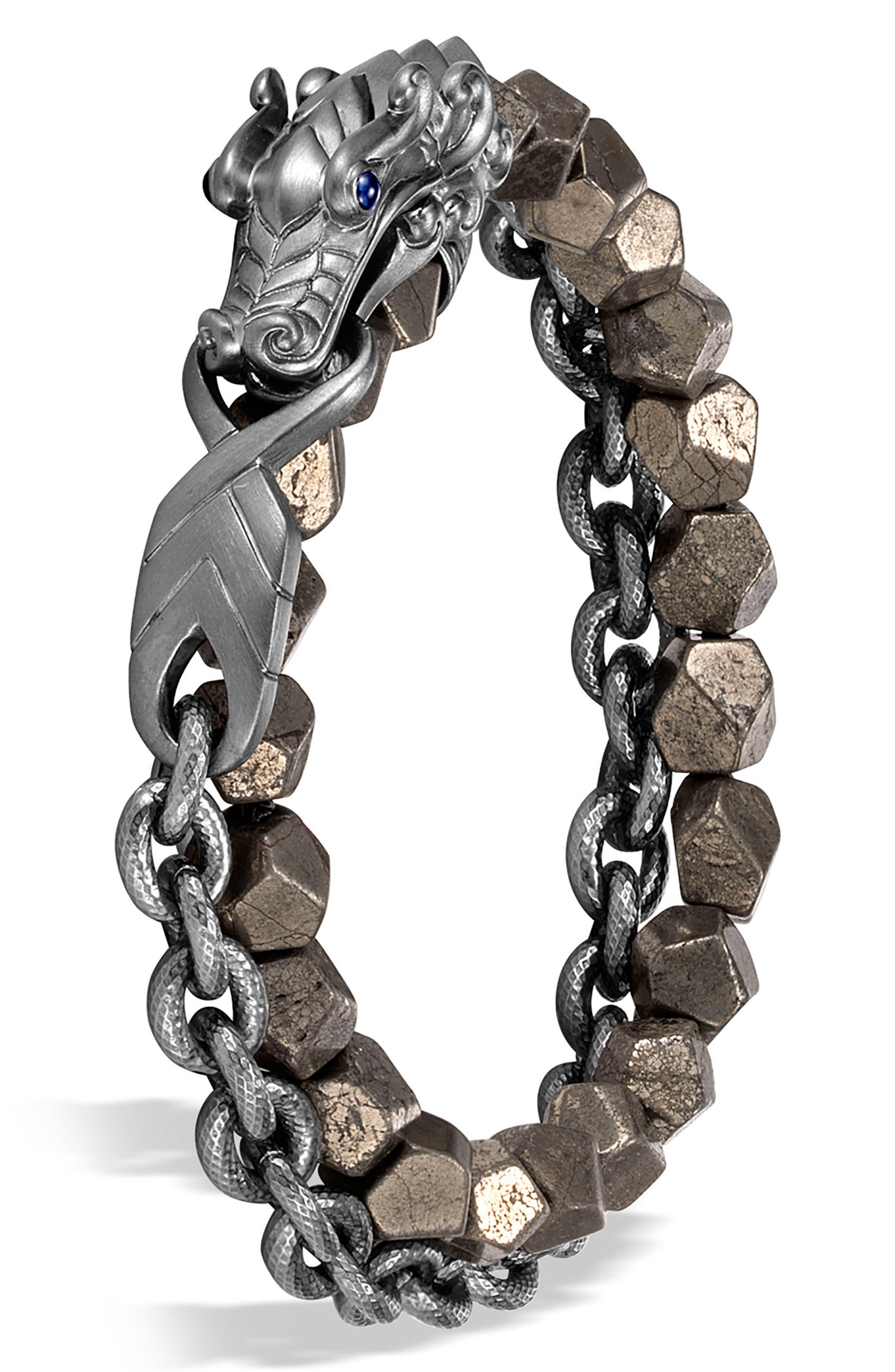 Men's Legends Naga Double Wrap Bracelet,                             Alternate thumbnail 2, color,                             SILVER/ PYRITE/ BLACK RHODIUM