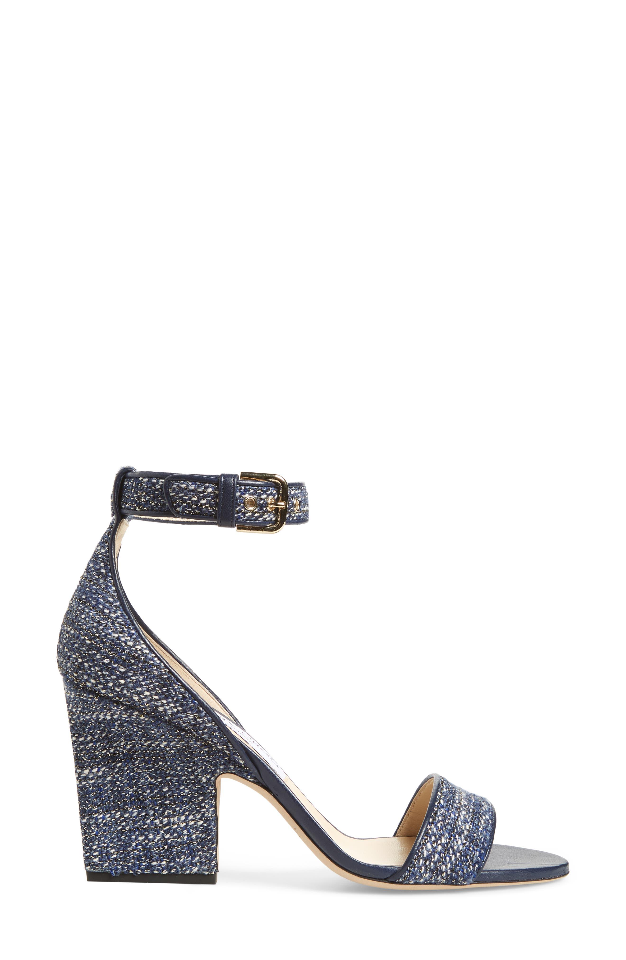 Edina Ankle Strap Sandal,                             Alternate thumbnail 3, color,                             NAVY GLITTER