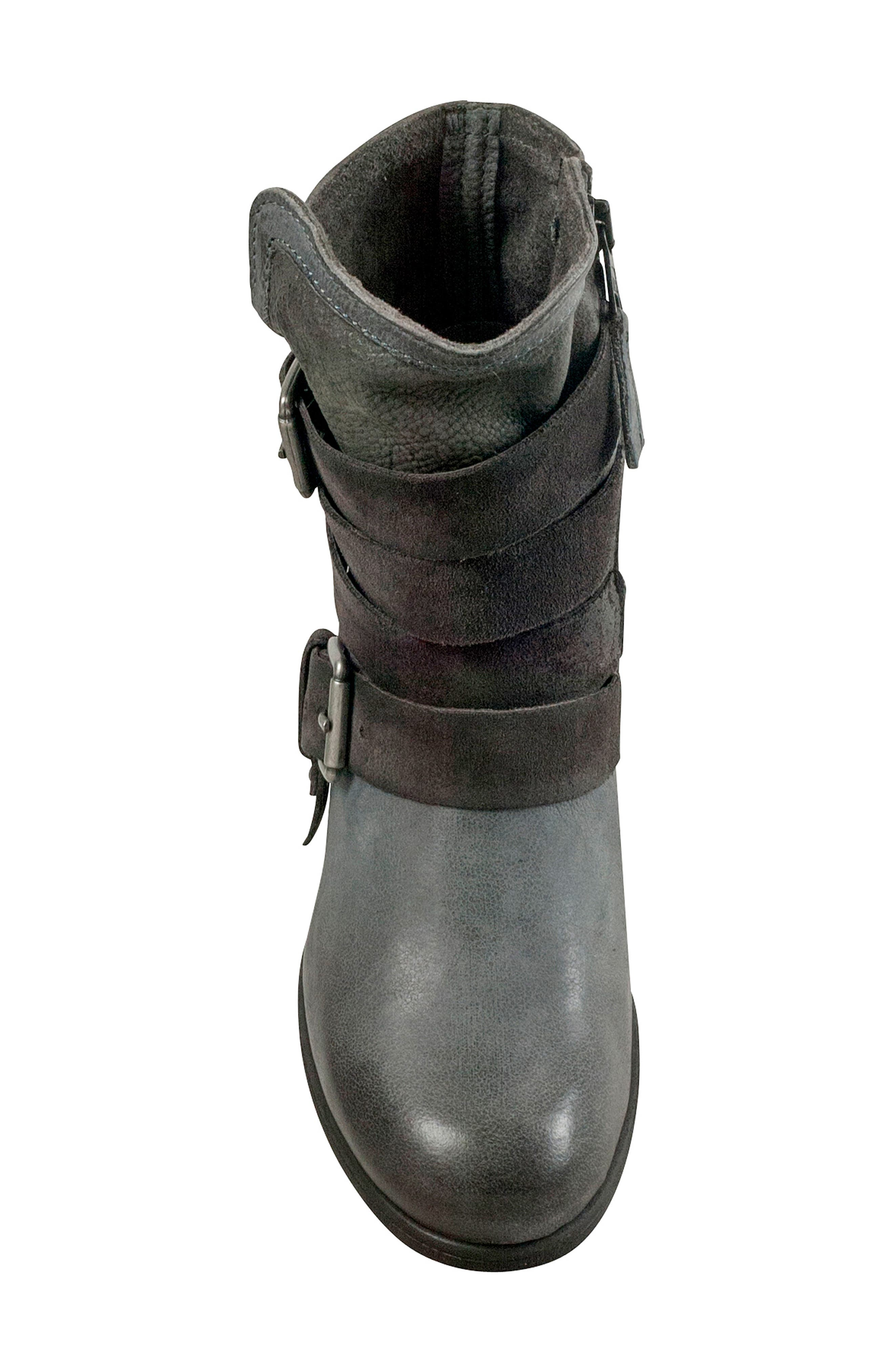 Savvy Buckle Bootie,                             Alternate thumbnail 5, color,                             GRANITE LEATHER