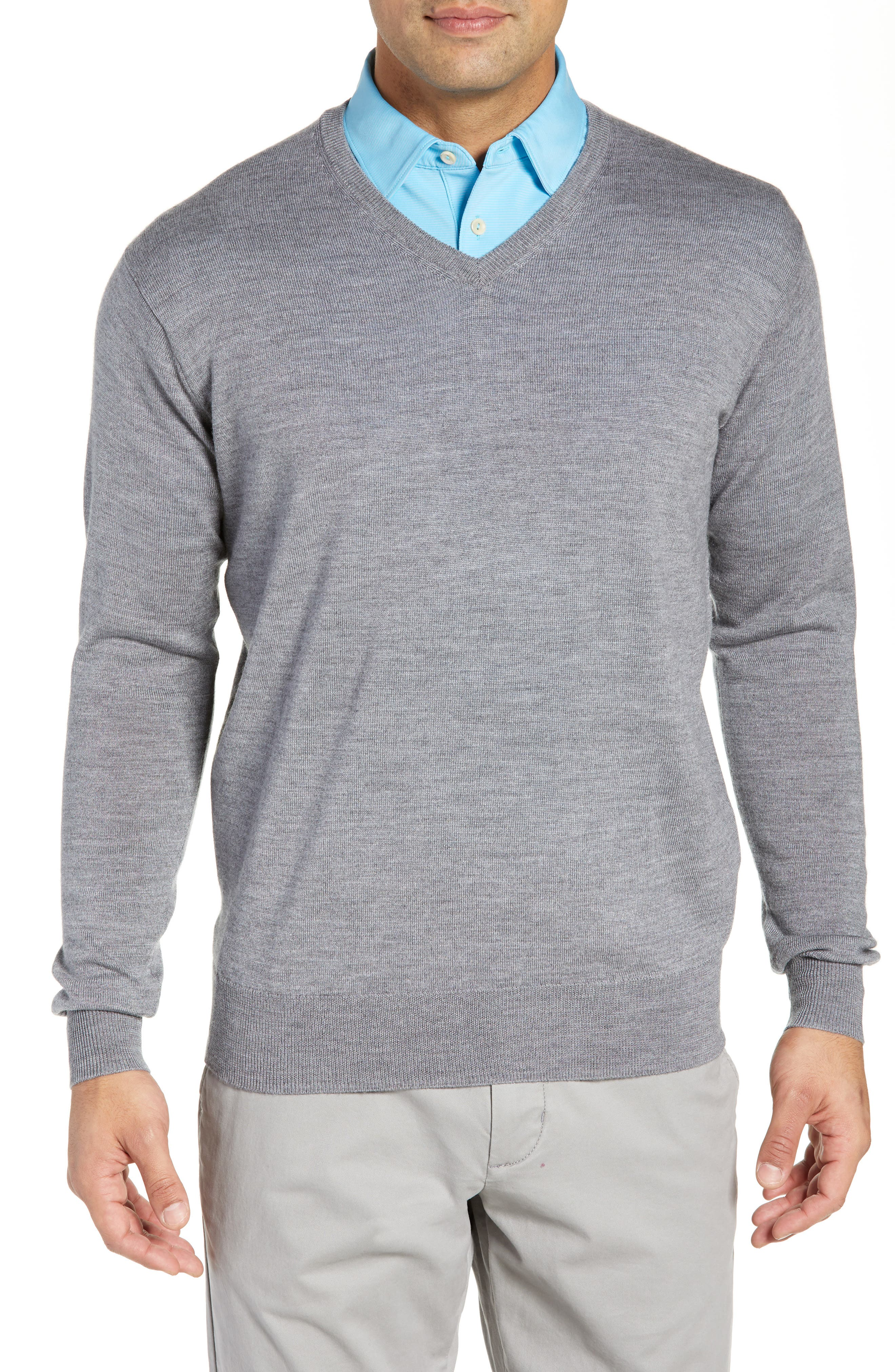 Crown Wool & Silk V-Neck Sweater,                         Main,                         color, 010