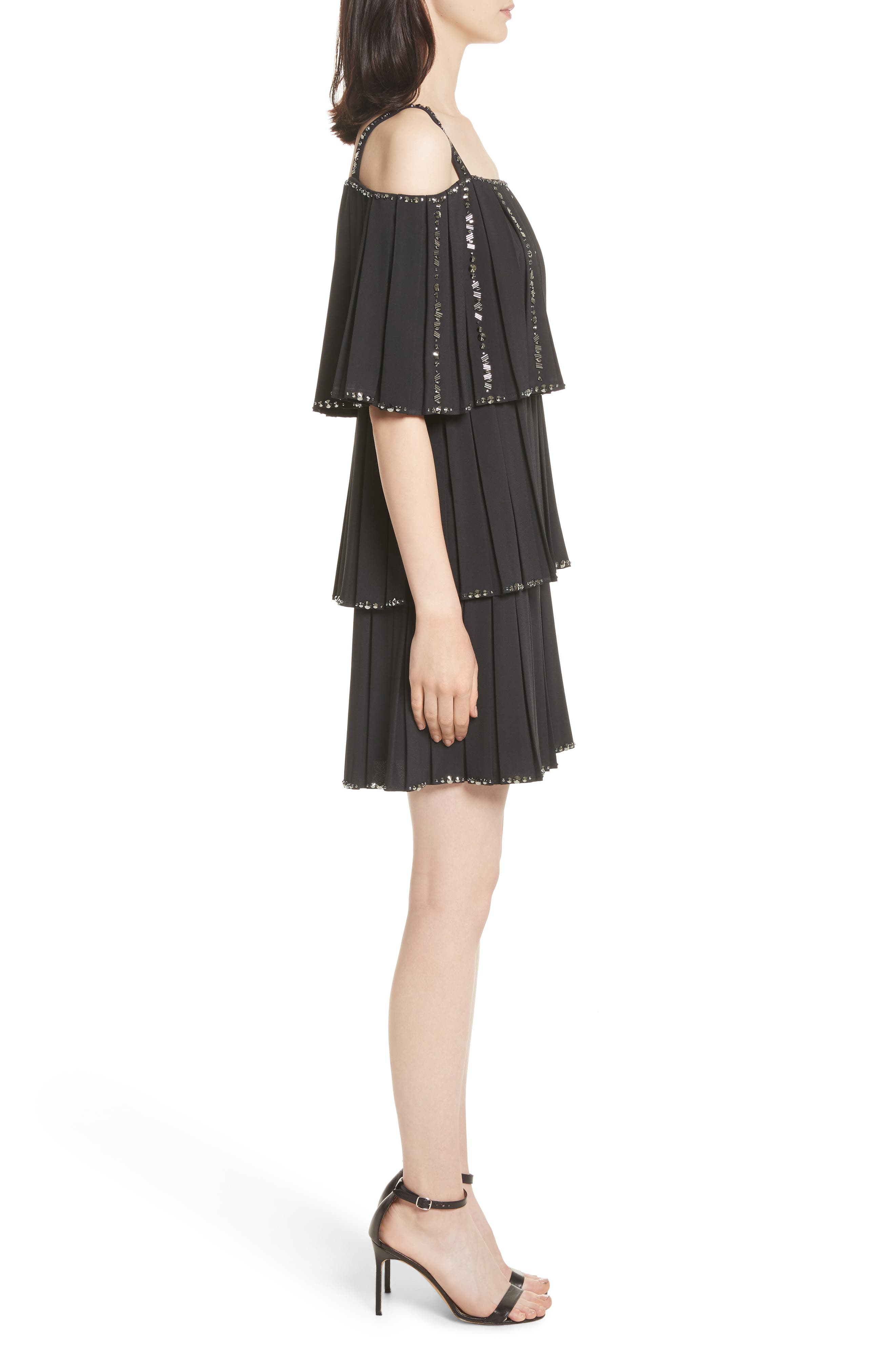 Embellished Pleat Tiered Dress,                             Alternate thumbnail 3, color,                             001