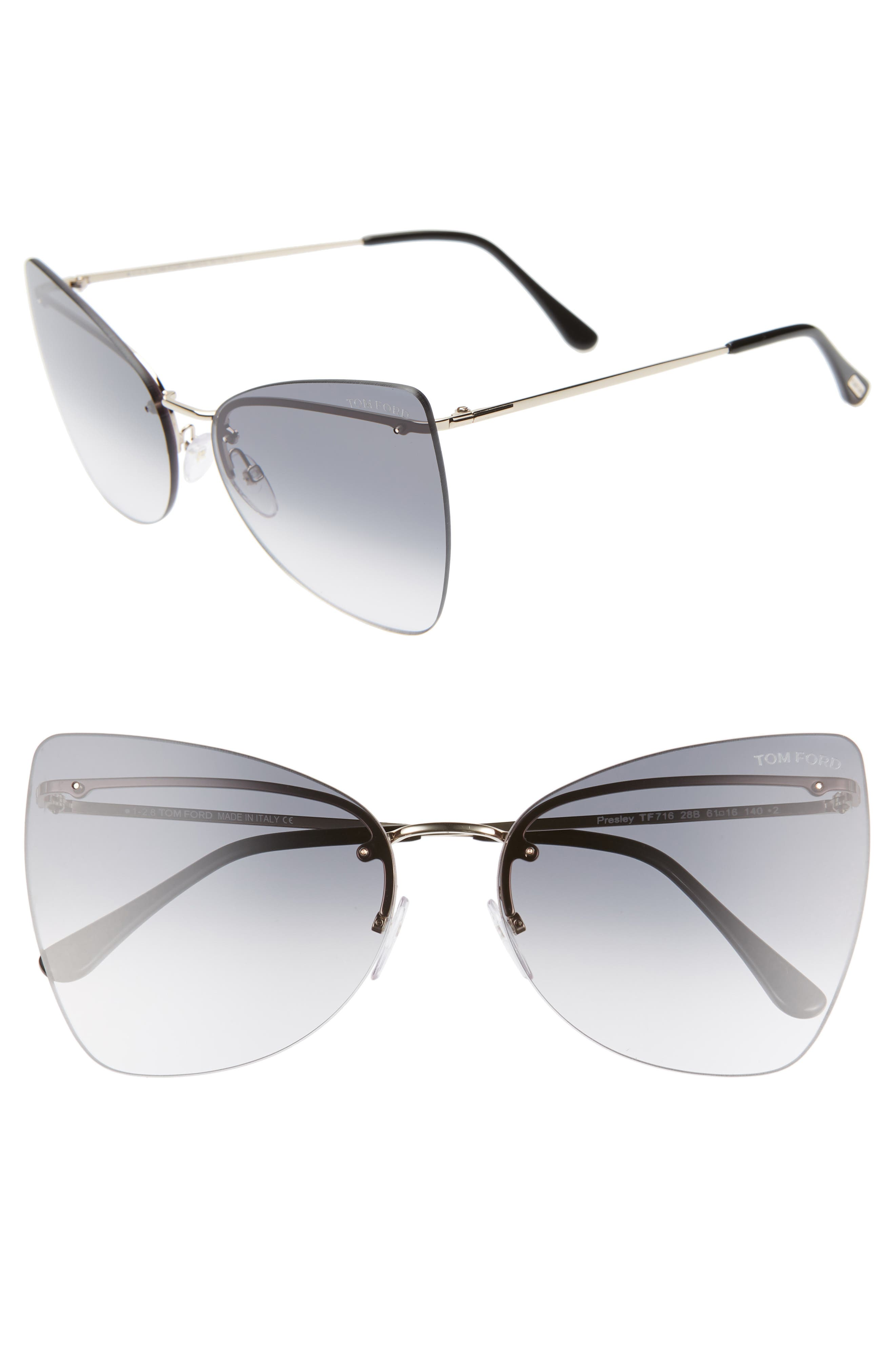 Tom Ford Presley 61Mm Butterfly Sunglasses - Rose Gold/ Black/ Smoke