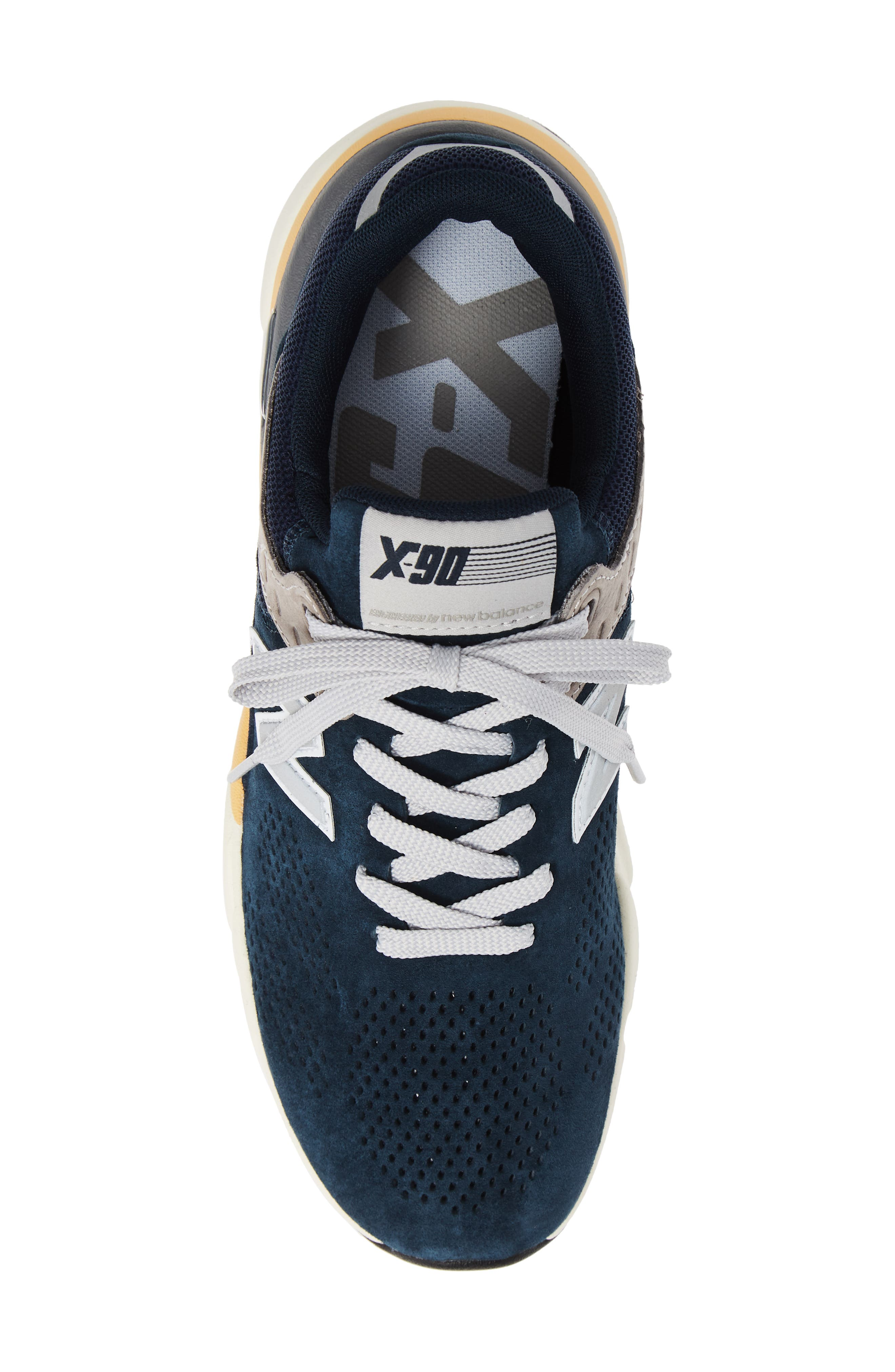 X-90 Leather Sneaker,                             Alternate thumbnail 5, color,                             NAVY SUEDE