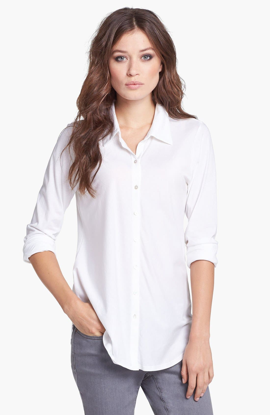 Classic Collar Organic Cotton Shirt,                         Main,                         color, 100