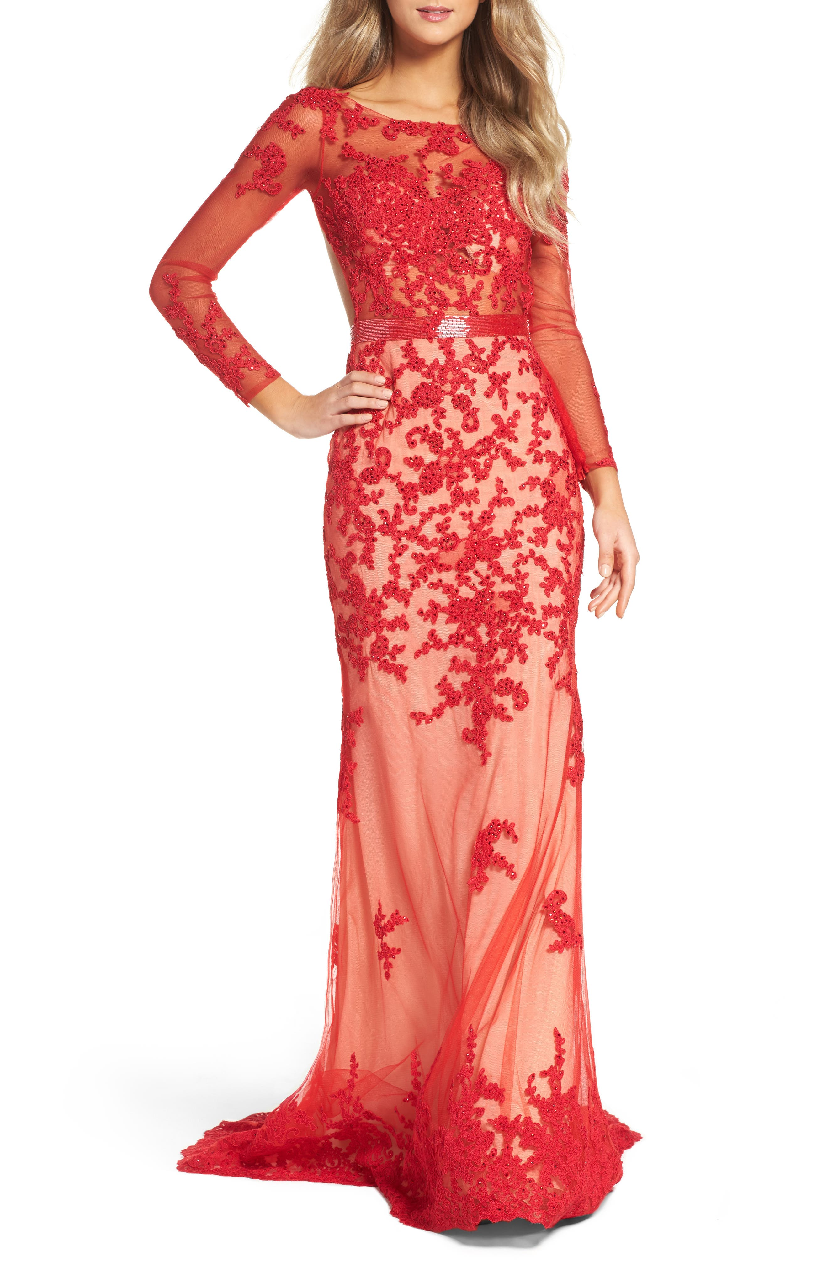 Open Back Embroidered Tulle Gown,                             Main thumbnail 2, color,