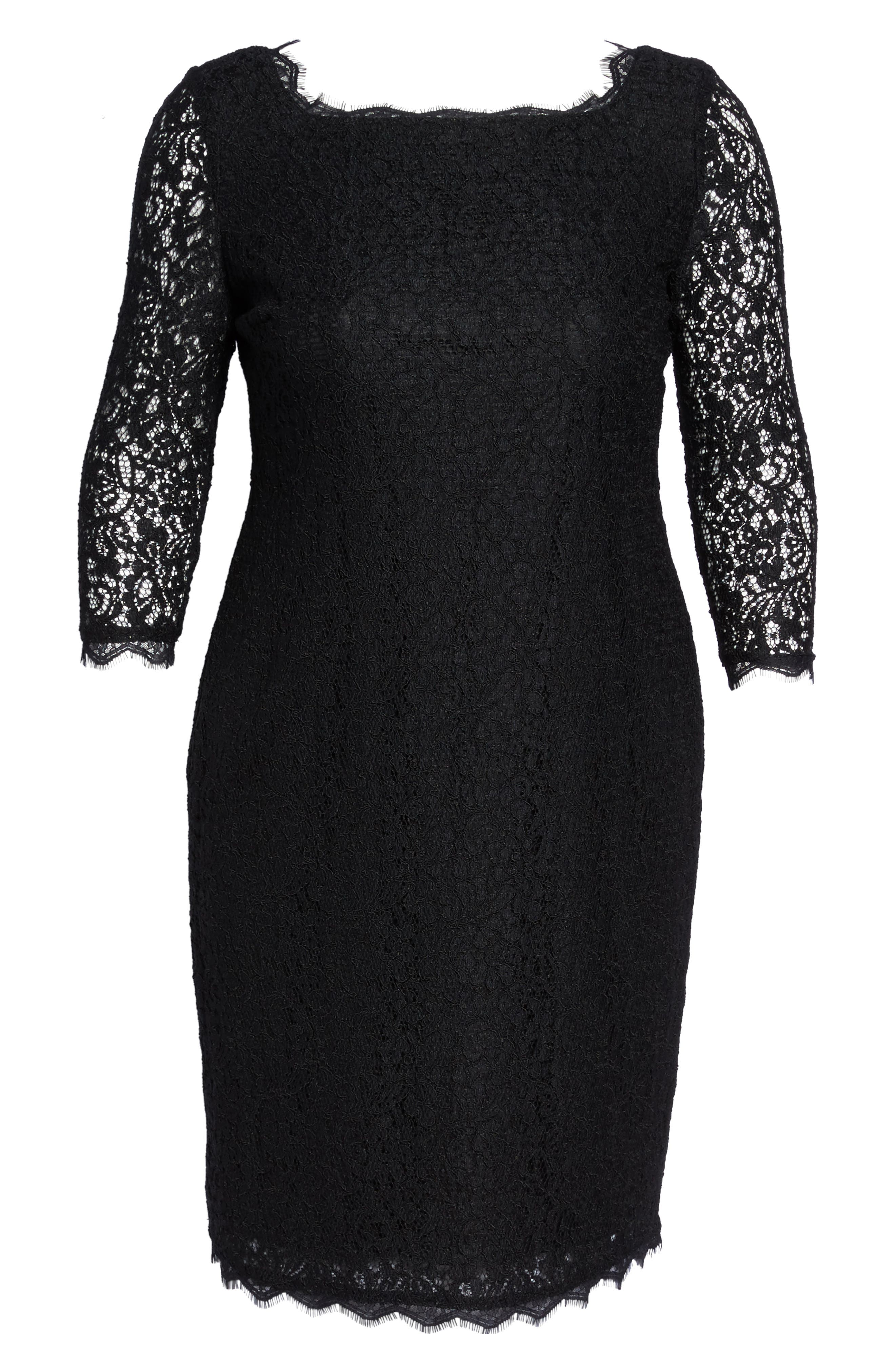 Lace Overlay Sheath Dress,                             Alternate thumbnail 6, color,                             001