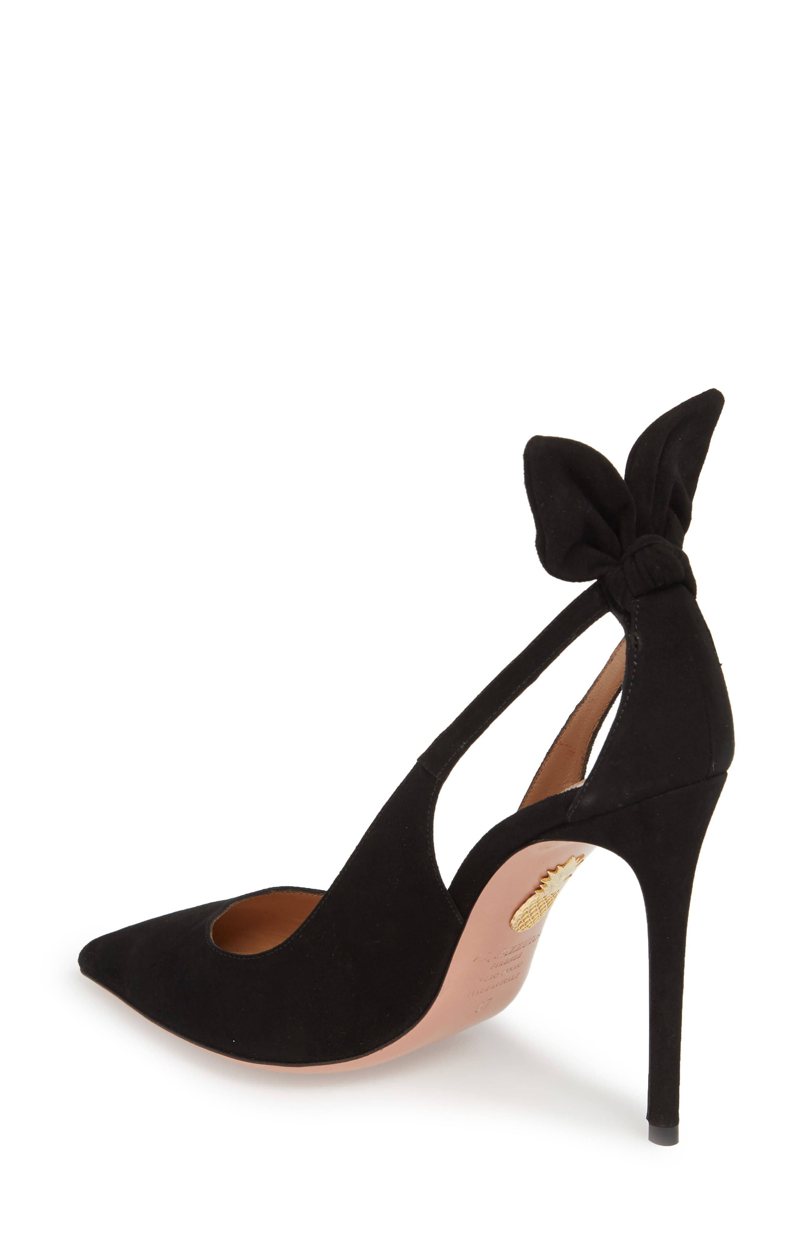 Deneuve Bow Pointy Toe Pump,                             Alternate thumbnail 2, color,                             BLACK