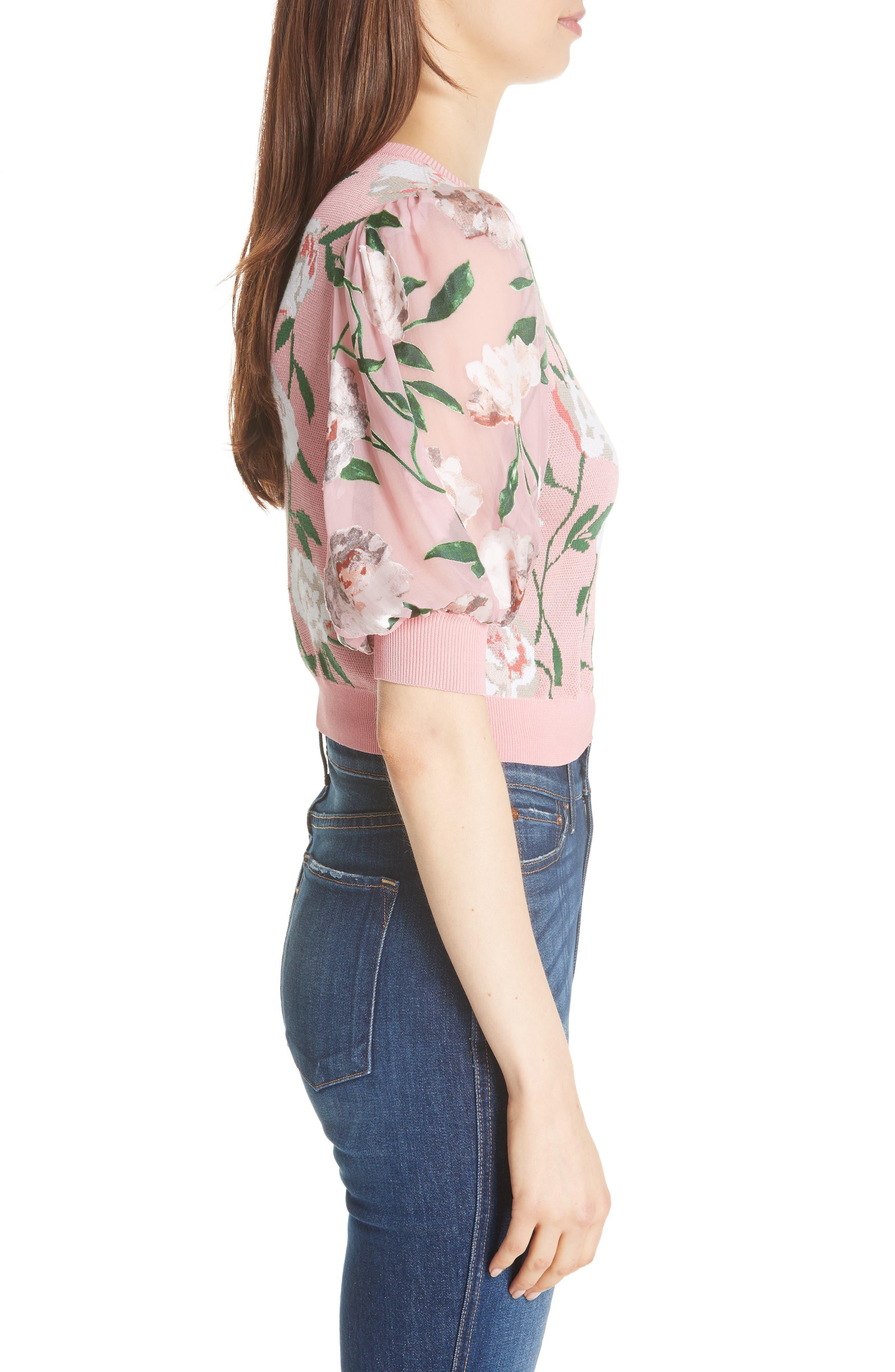 Brandy Floral Puff Crop Sweater,                             Alternate thumbnail 3, color,                             PEONY GARDEN WALL/ BUBBLEGUM