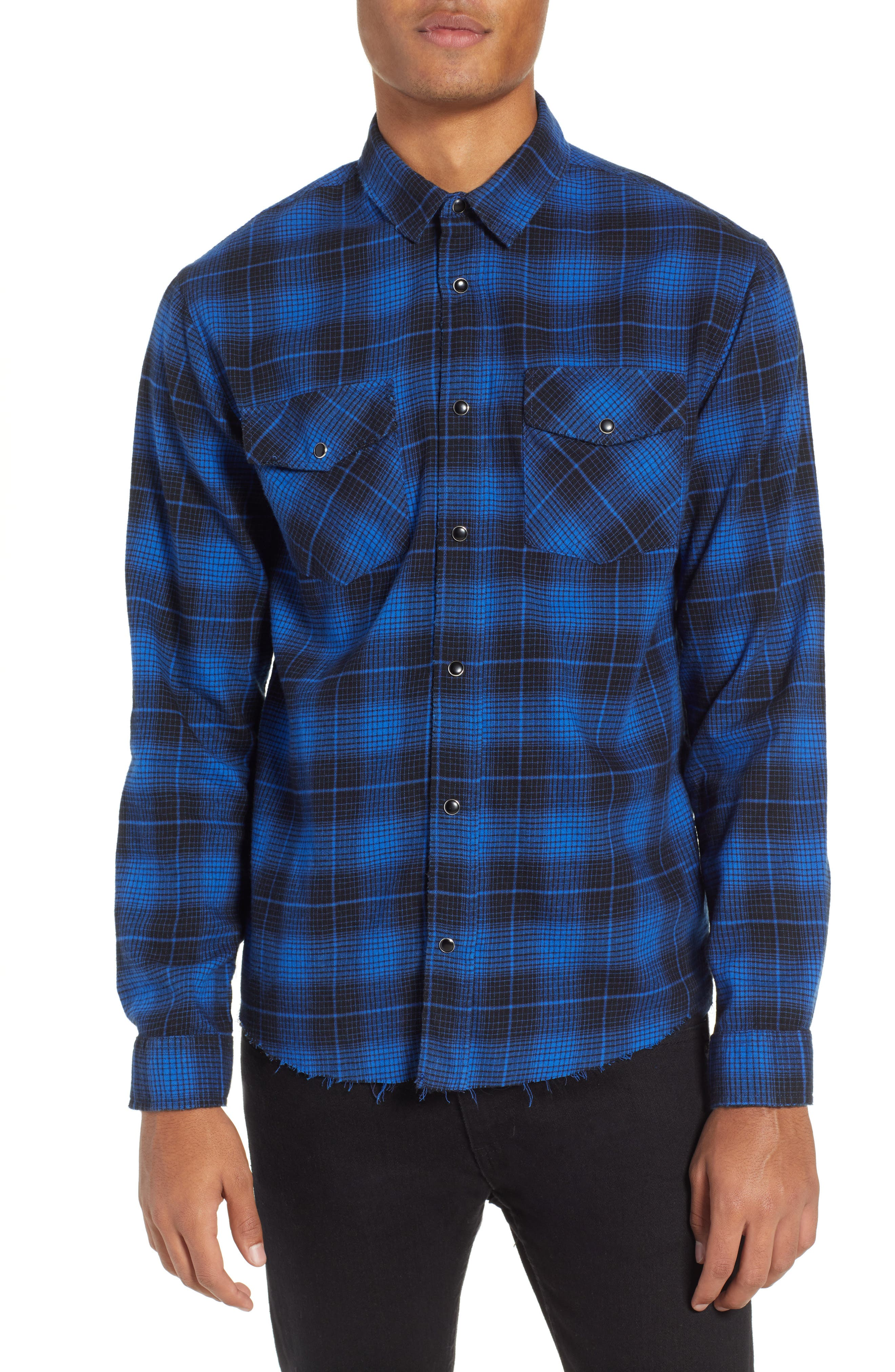 THE KOOPLES Plaid Flannel Shirt, Main, color, ROYAL BLUE / BLACK