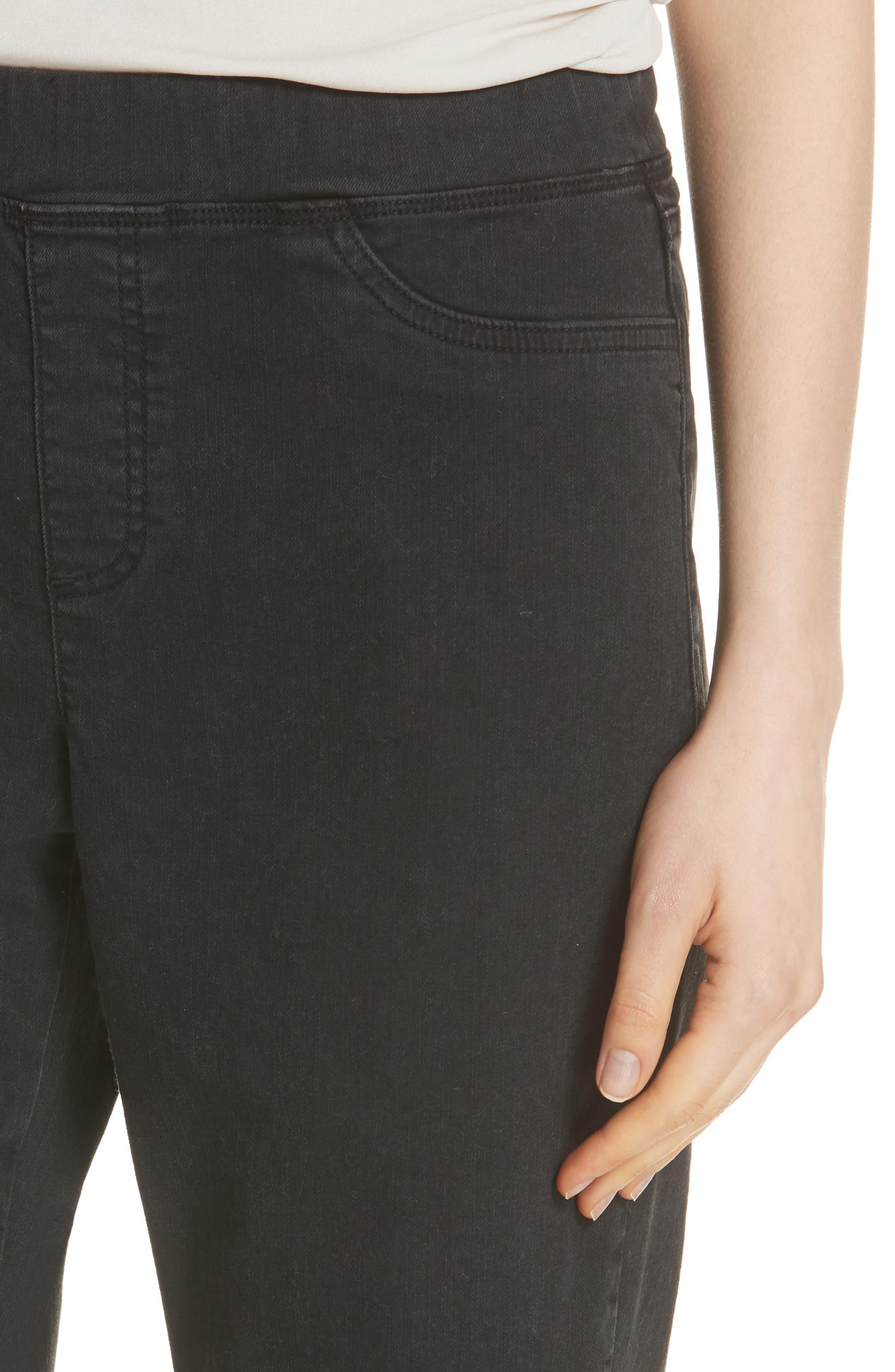 Frayed Hem Pull-On Ankle Jeans,                             Alternate thumbnail 4, color,                             WASHED BLACK