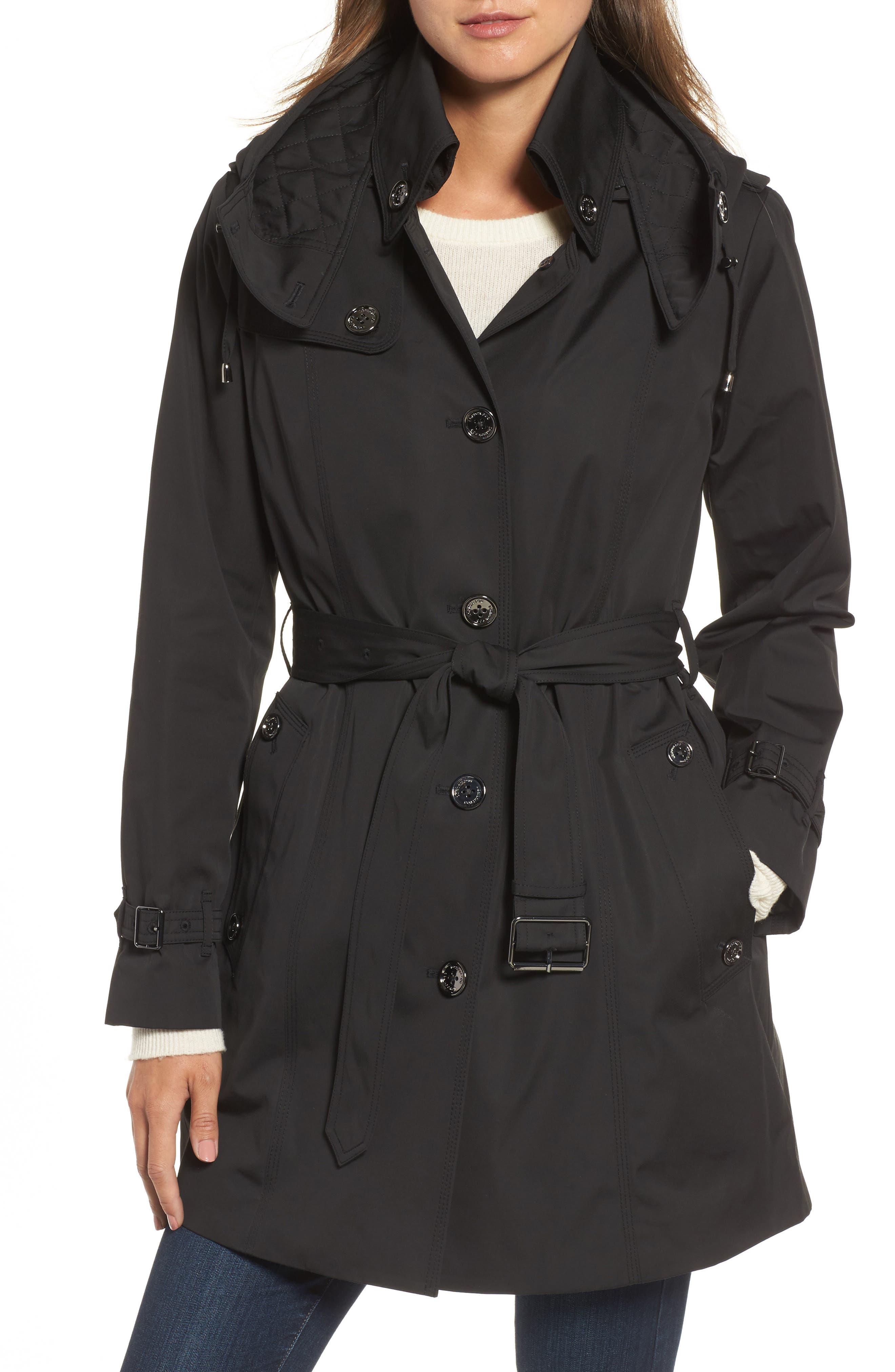 Short Trench Coat,                             Main thumbnail 1, color,                             001