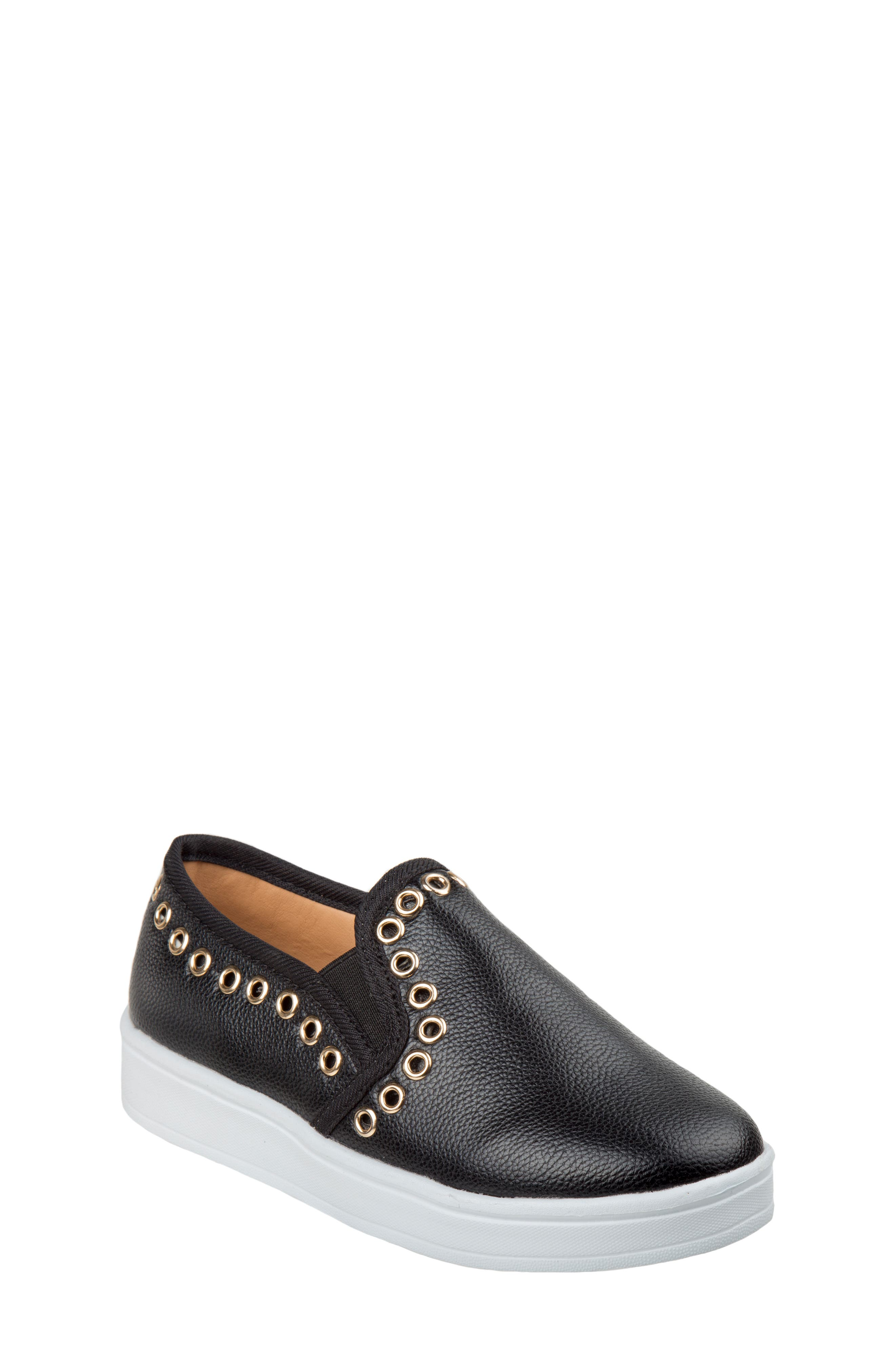 Grommeted Slip-On Sneaker,                             Main thumbnail 1, color,                             BLACK