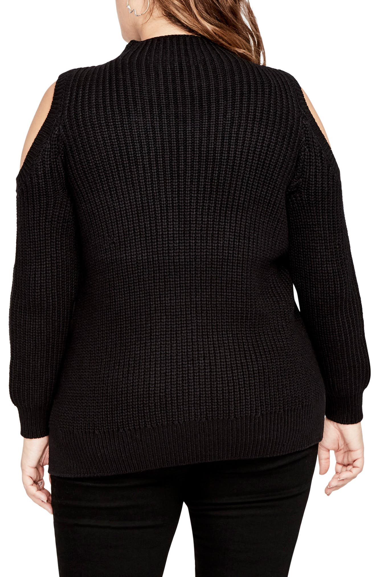 Cold Shoulder Cable Sweater,                             Alternate thumbnail 2, color,                             001