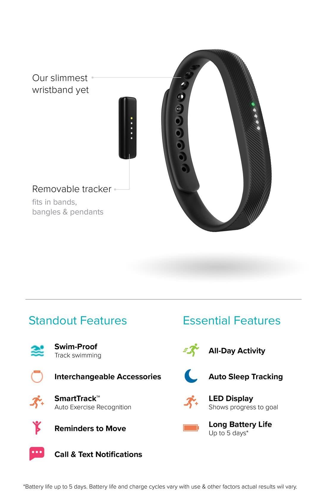 'Flex 2' Wireless Activity & Sleep Wristband,                             Alternate thumbnail 3, color,                             BLACK
