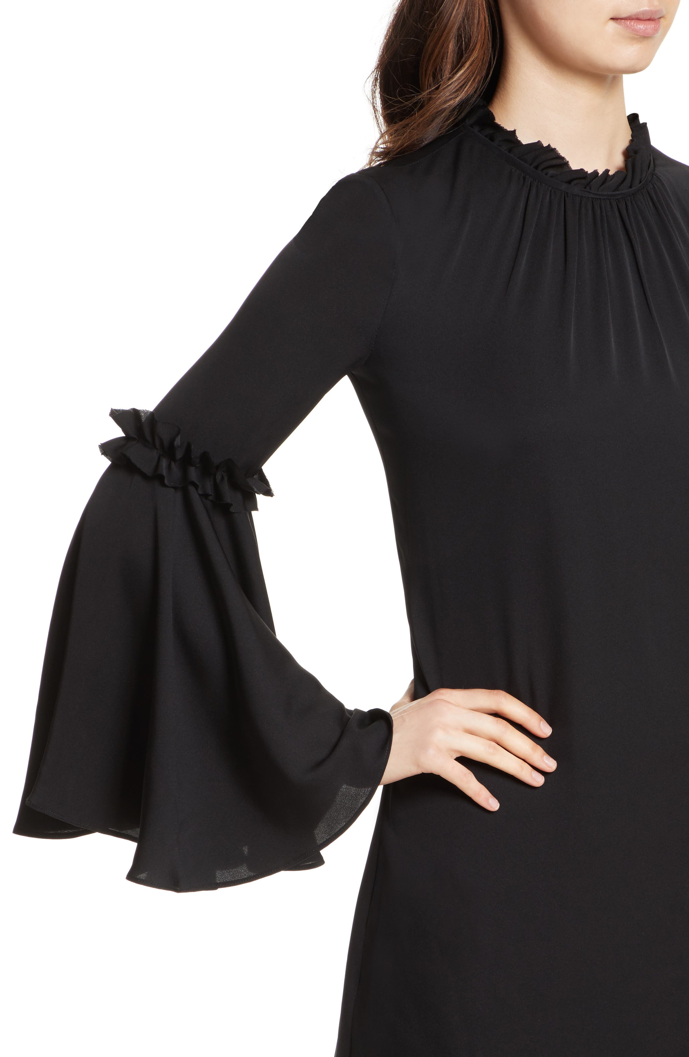 Cassie Bell Sleeve A-Line Dress,                             Alternate thumbnail 4, color,                             001
