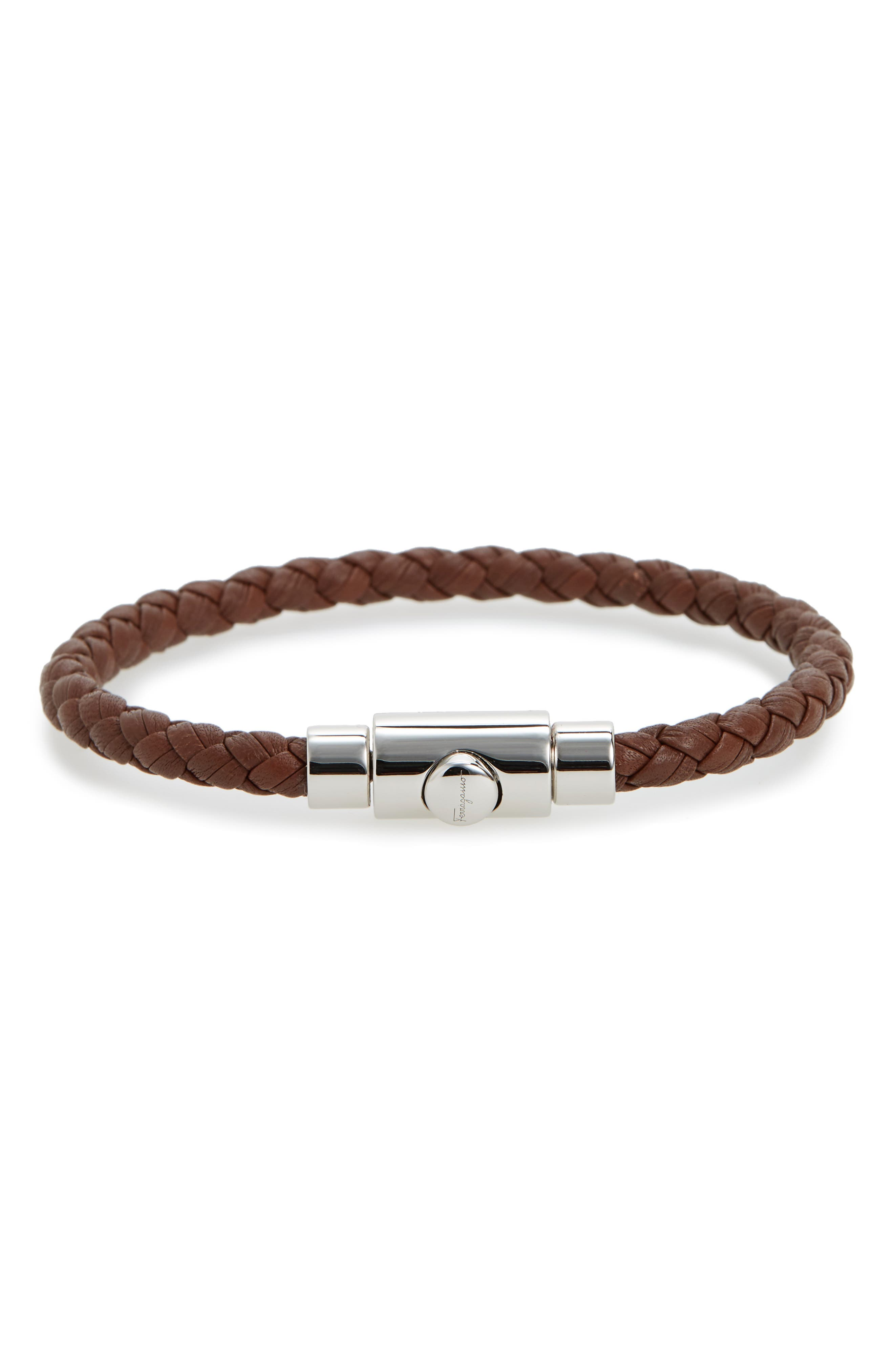 Braided Leather Bracelet,                             Main thumbnail 1, color,                             BARK BROWN