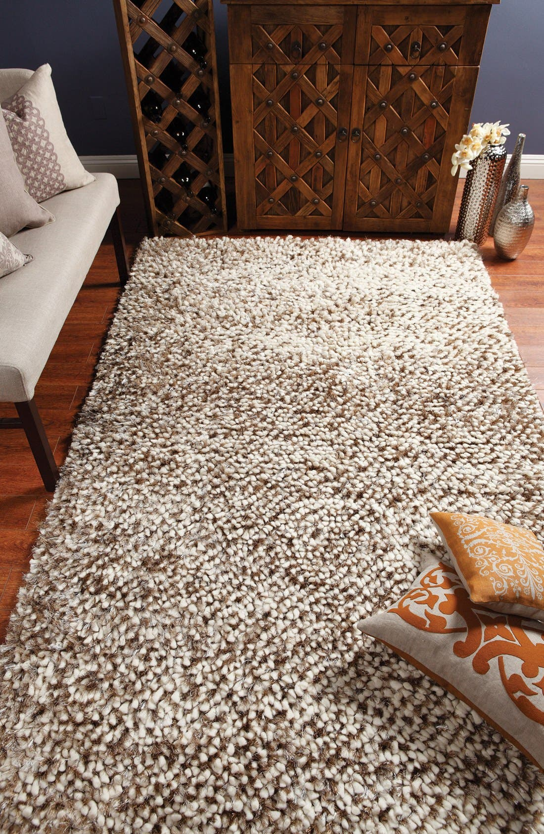 Marshmallow Handwoven Shag Rug,                             Alternate thumbnail 2, color,                             250