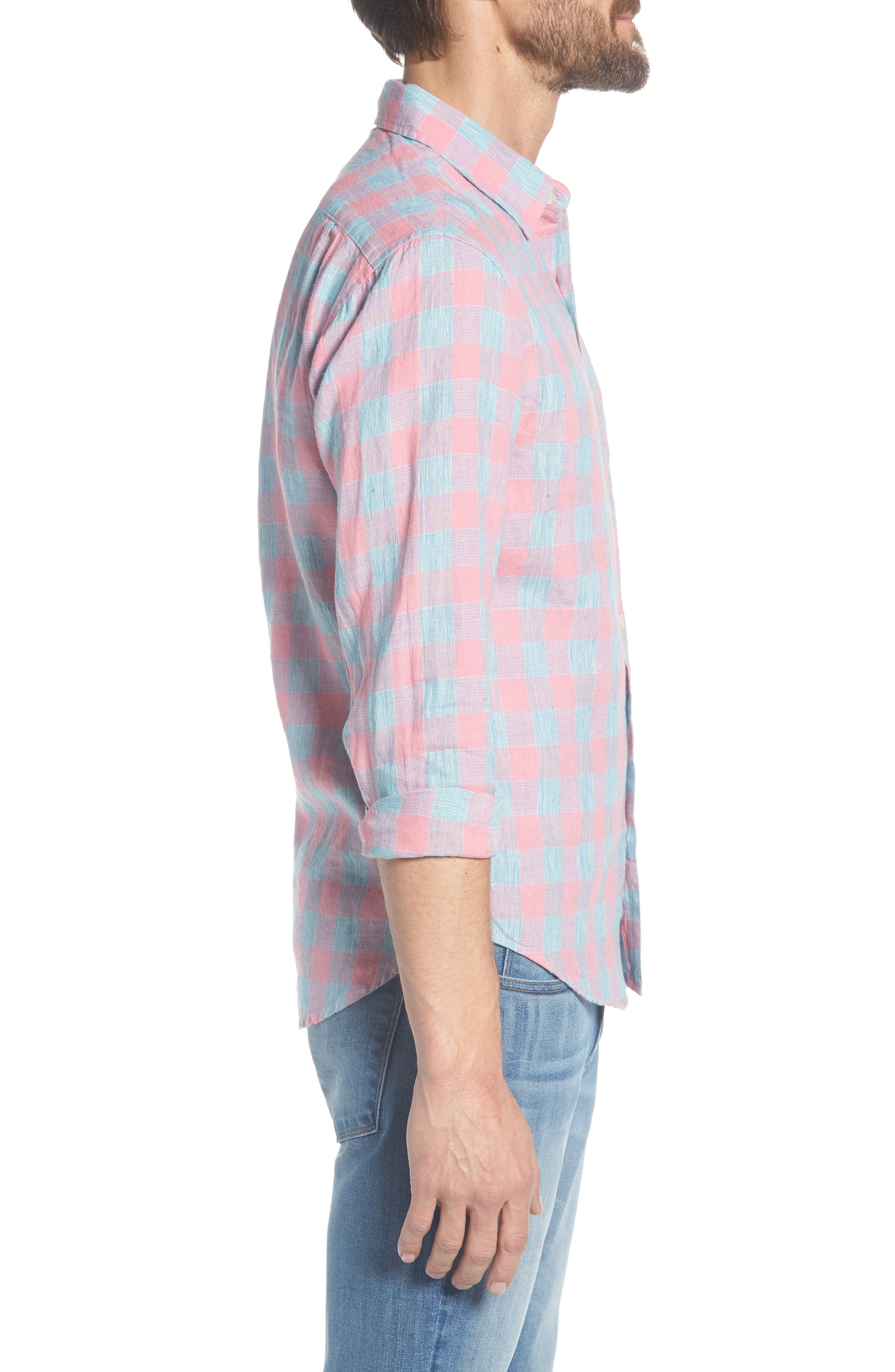 Slim Fit Plaid Linen & Cotton Sport Shirt,                             Alternate thumbnail 3, color,                             650