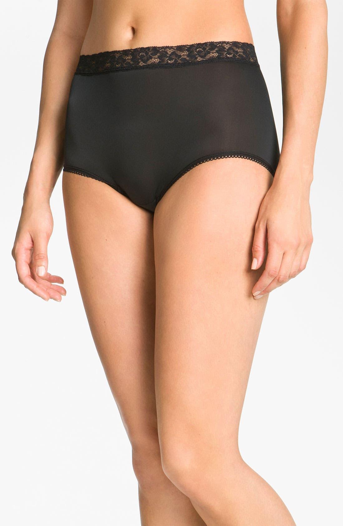 'Bodysuede' Lace Waist Briefs,                         Main,                         color, BLACK