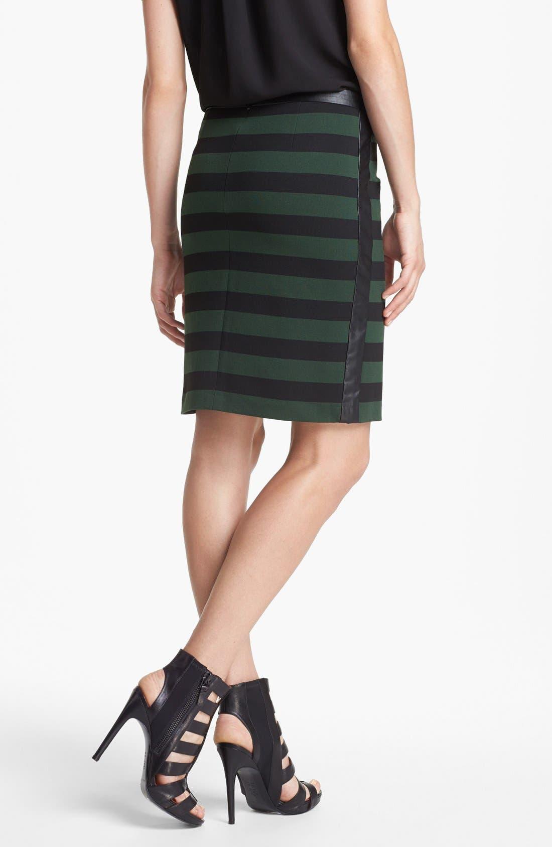 Faux Leather Trim Stripe Pencil Skirt,                             Alternate thumbnail 8, color,