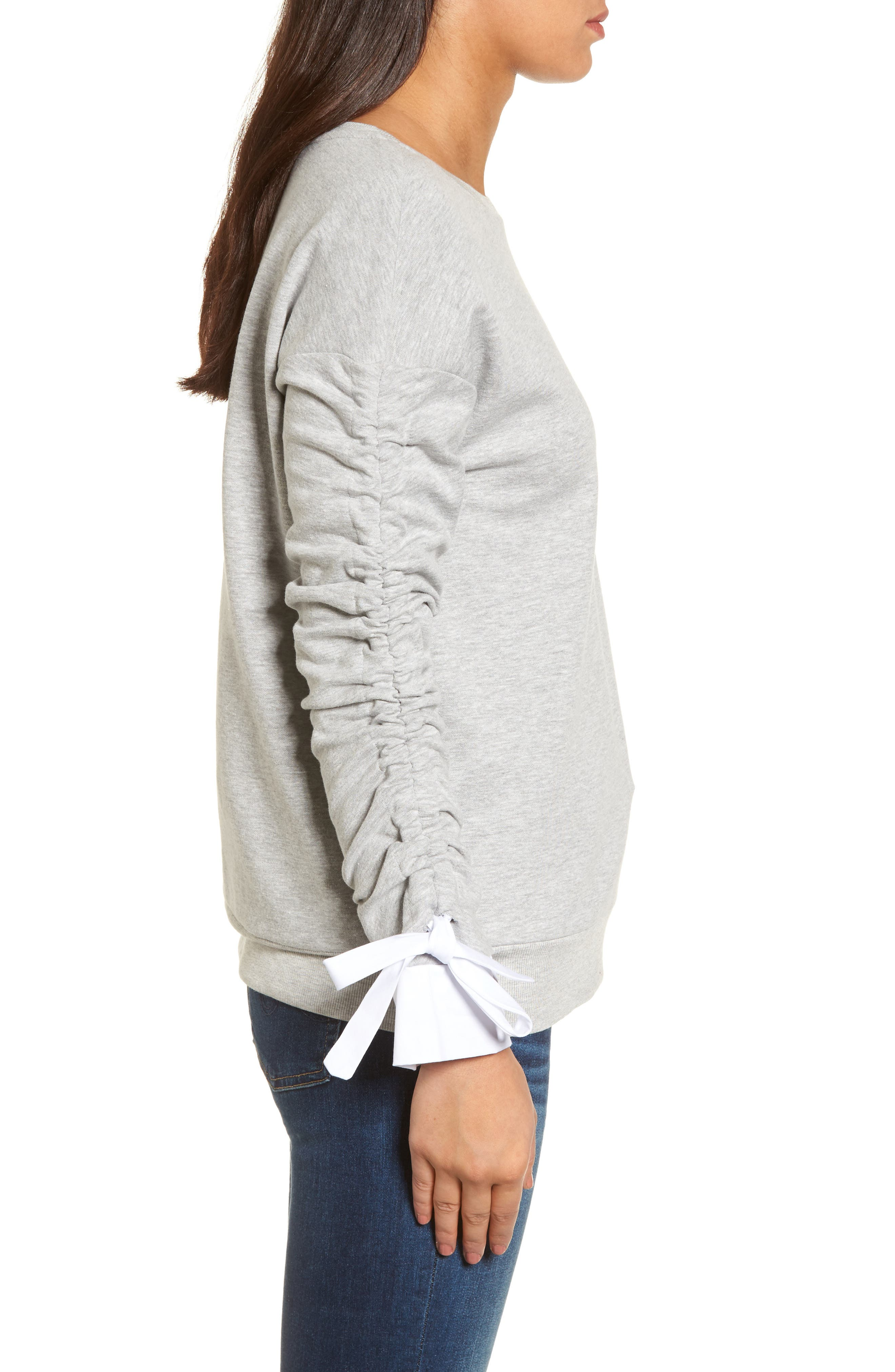 Ruched Sleeve Poplin Trim Sweatshirt,                             Alternate thumbnail 10, color,