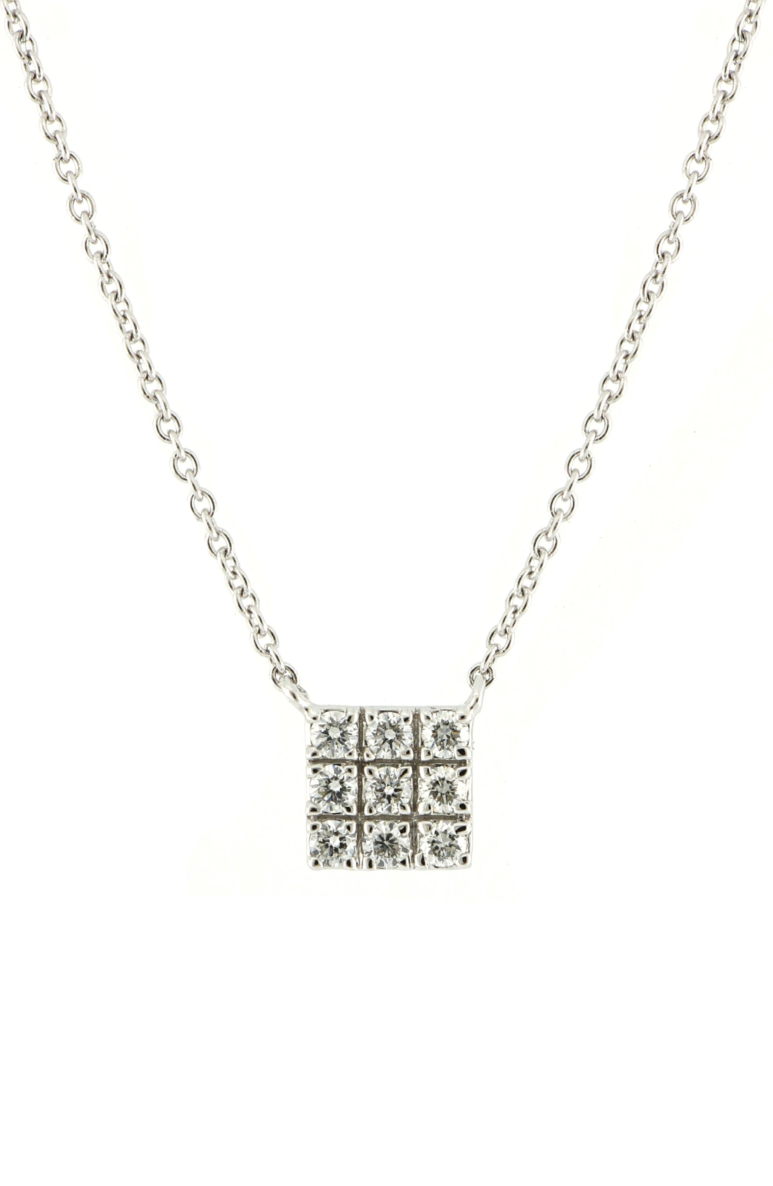 Kiera Square Pendant Necklace,                         Main,                         color, WHITE GOLD