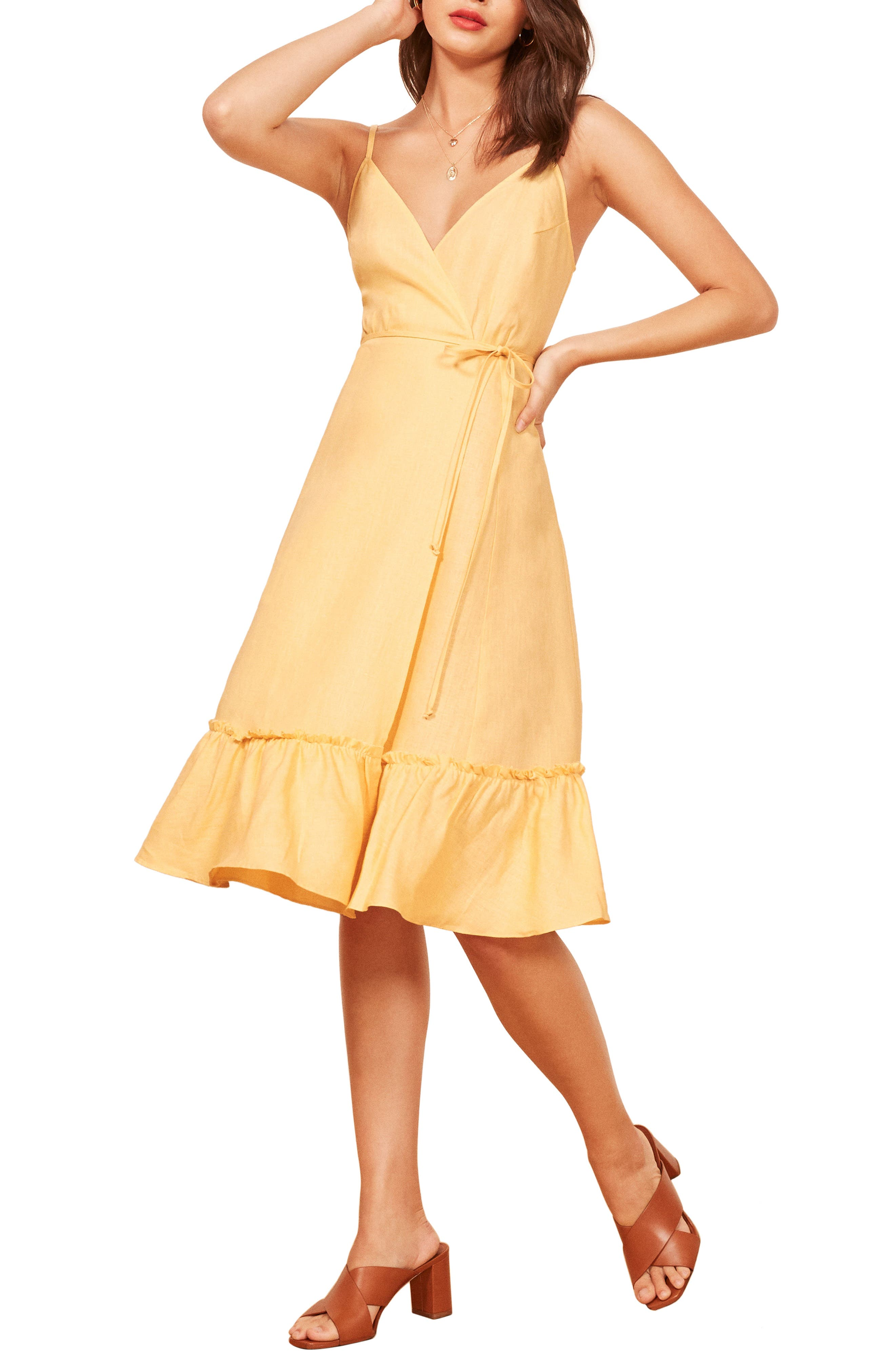 Fig Linen Wrap Dress,                             Main thumbnail 1, color,                             700