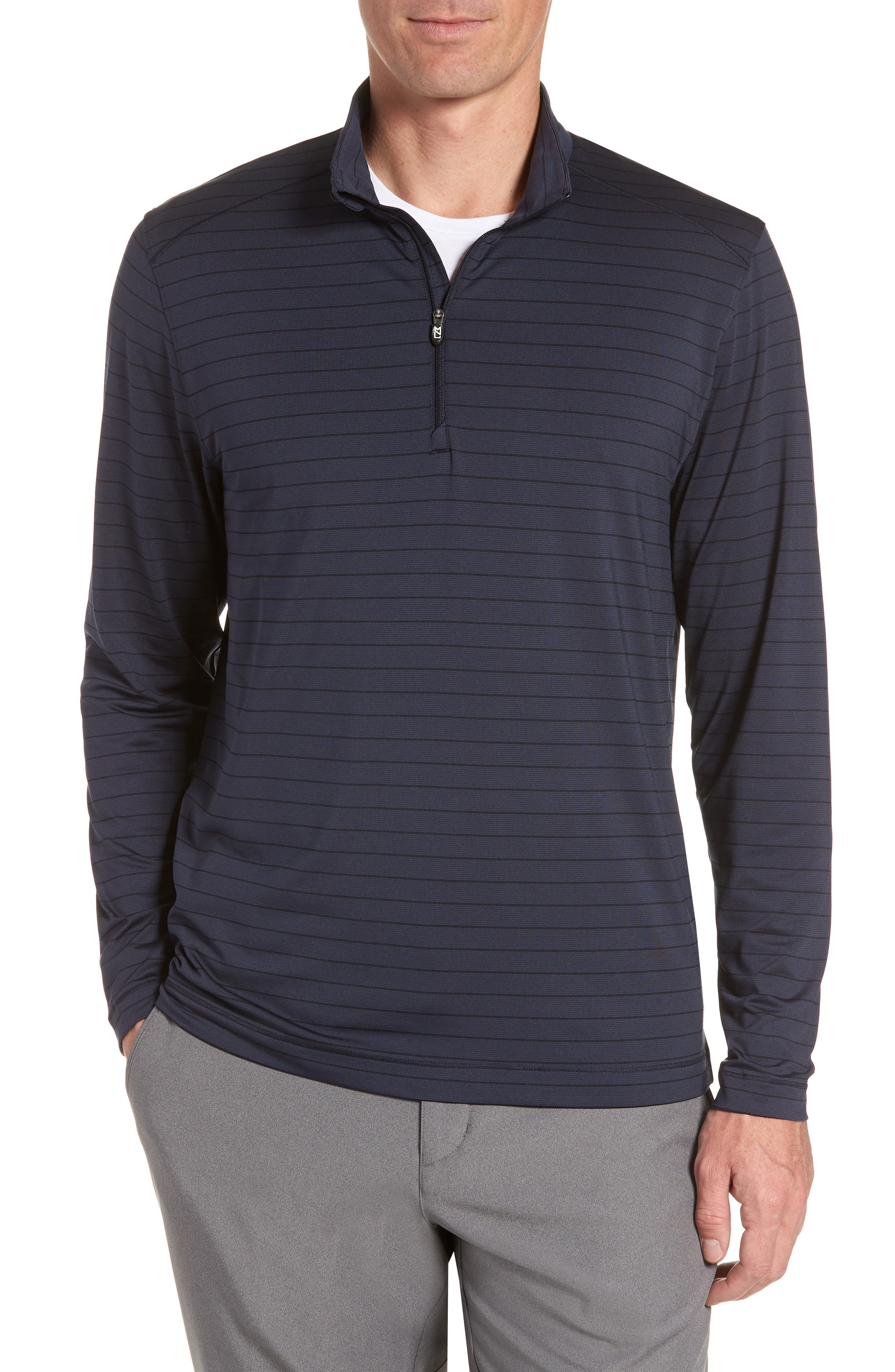 Holman Stripe Half Zip Pullover,                             Main thumbnail 1, color,                             LIBERTY NAVY HEATHER