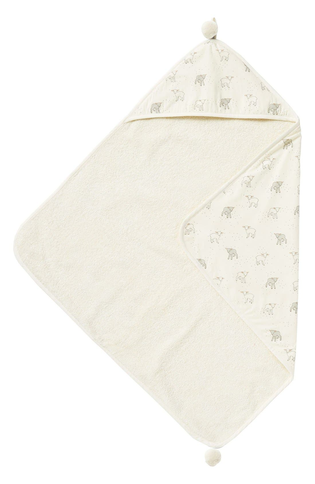 Little Lamb Print Hooded Towel,                             Main thumbnail 1, color,                             CREAM