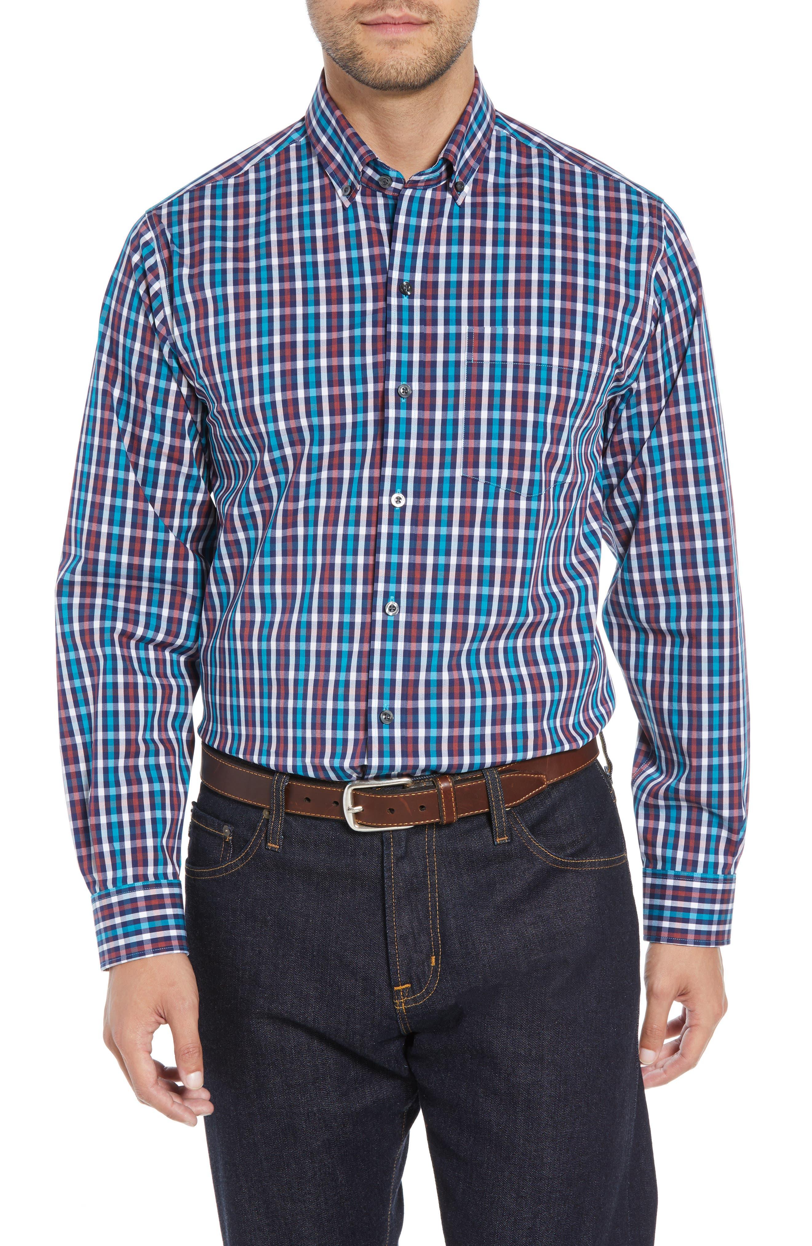 Cutter & Buck Albert Regular Fit Wrinkle Free Check Sport Shirt, Blue